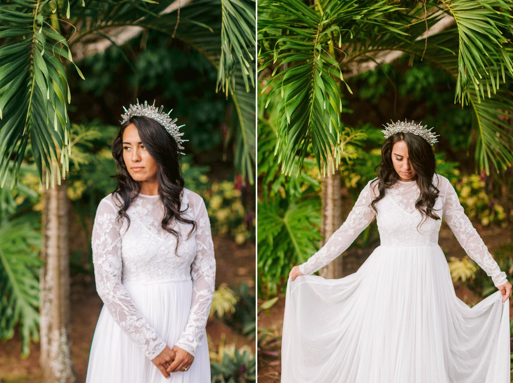 Hawaiian Bridal Portraits - Bride is wearing a wedding dress by asos and a unique crown under palm trees - Ana + Elijah - Wedding at Loulu Palm in Haleiwa, HI - Oahu Hawaii Wedding Photographer