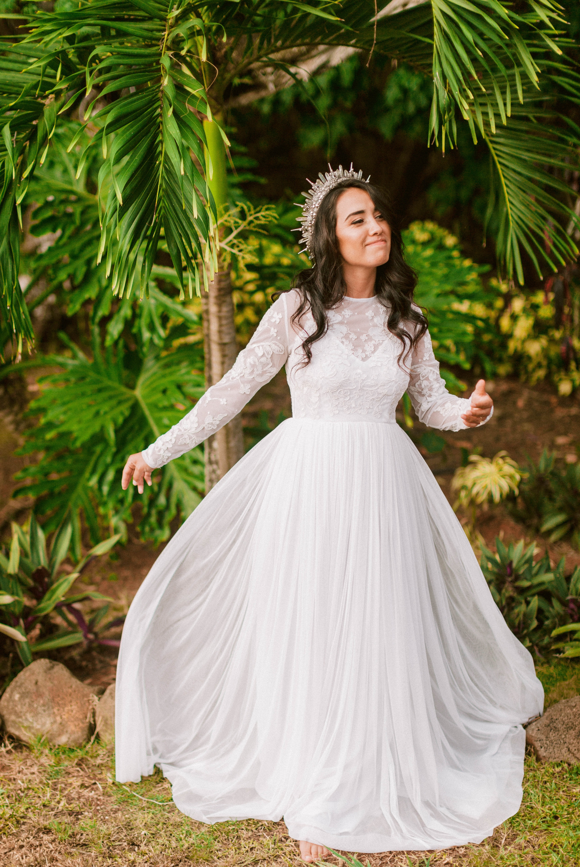 Hawaiian Bridal Portraits - Bride is wearing a wedding dress by asos and a unique crown under palm trees - Ana + Elijah - Wedding at Loulu Palm in Haleiwa, HI - Oahu Hawaii Wedding Photographer - #hawaiiweddingphotographer #oahuweddings #hawaiiweddings