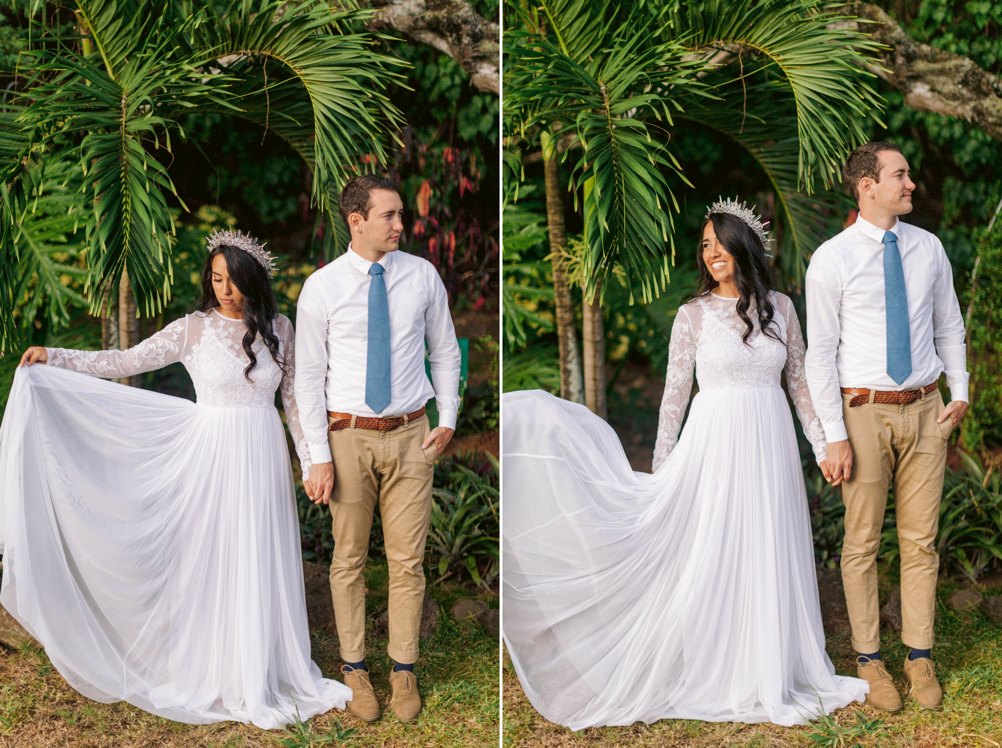 Bride playing with her asos wedding dress underneath palm trees while holding hands with her groom Ana + Elijah - Wedding at Loulu Palm in Haleiwa, HI - Oahu Hawaii Wedding Photographer - #hawaiiweddingphotographer #oahuweddings #hawaiiweddings