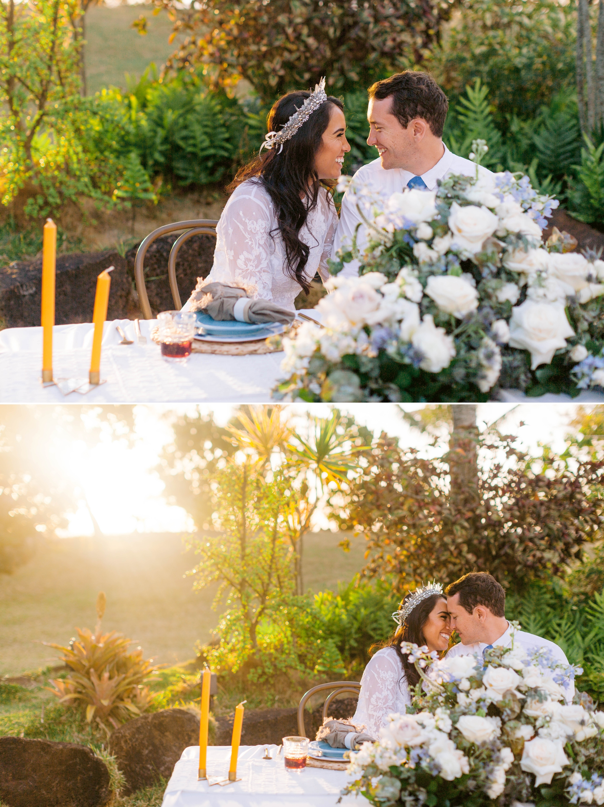 Bride and Groom at sunset for their outdoor wedding at their sweetheart table - Ana + Elijah - Wedding at Loulu Palm in Haleiwa, HI - Oahu Hawaii Wedding Photographer - #hawaiiweddingphotographer #oahuweddings #hawaiiweddings
