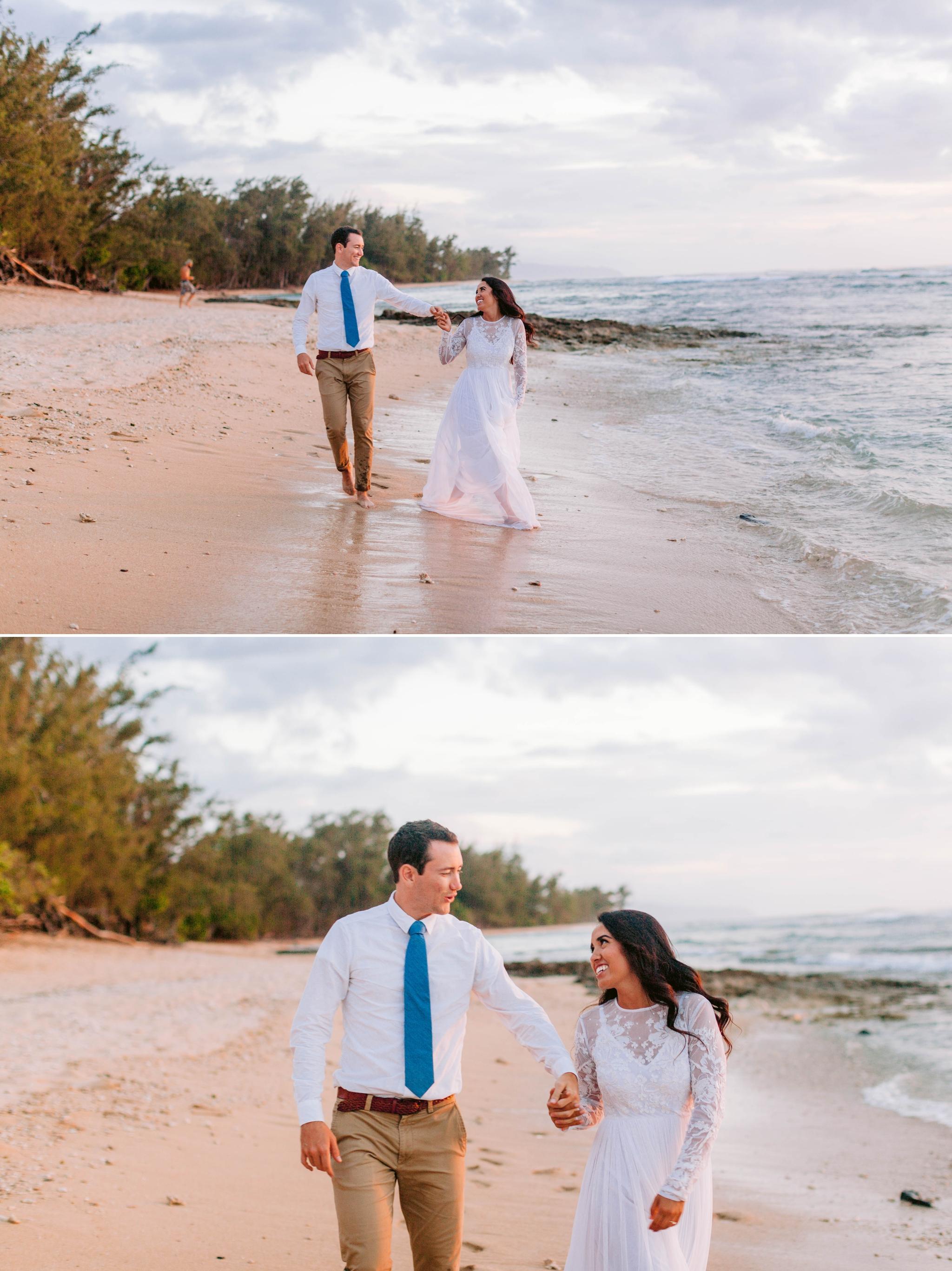 Walks on the beach - Wedding Portraits at Sunset in Hawaii - Ana + Elijah - Wedding at Loulu Palm in Haleiwa, HI - Oahu Hawaii Wedding Photographer - #hawaiiweddingphotographer #oahuweddings #hawaiiweddings