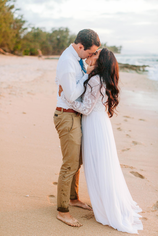 Bride and Groom kissing - Wedding Portraits at Sunset in Hawaii - Ana + Elijah - Wedding at Loulu Palm in Haleiwa, HI - Oahu Hawaii Wedding Photographer - #hawaiiweddingphotographer #oahuweddings #hawaiiweddings