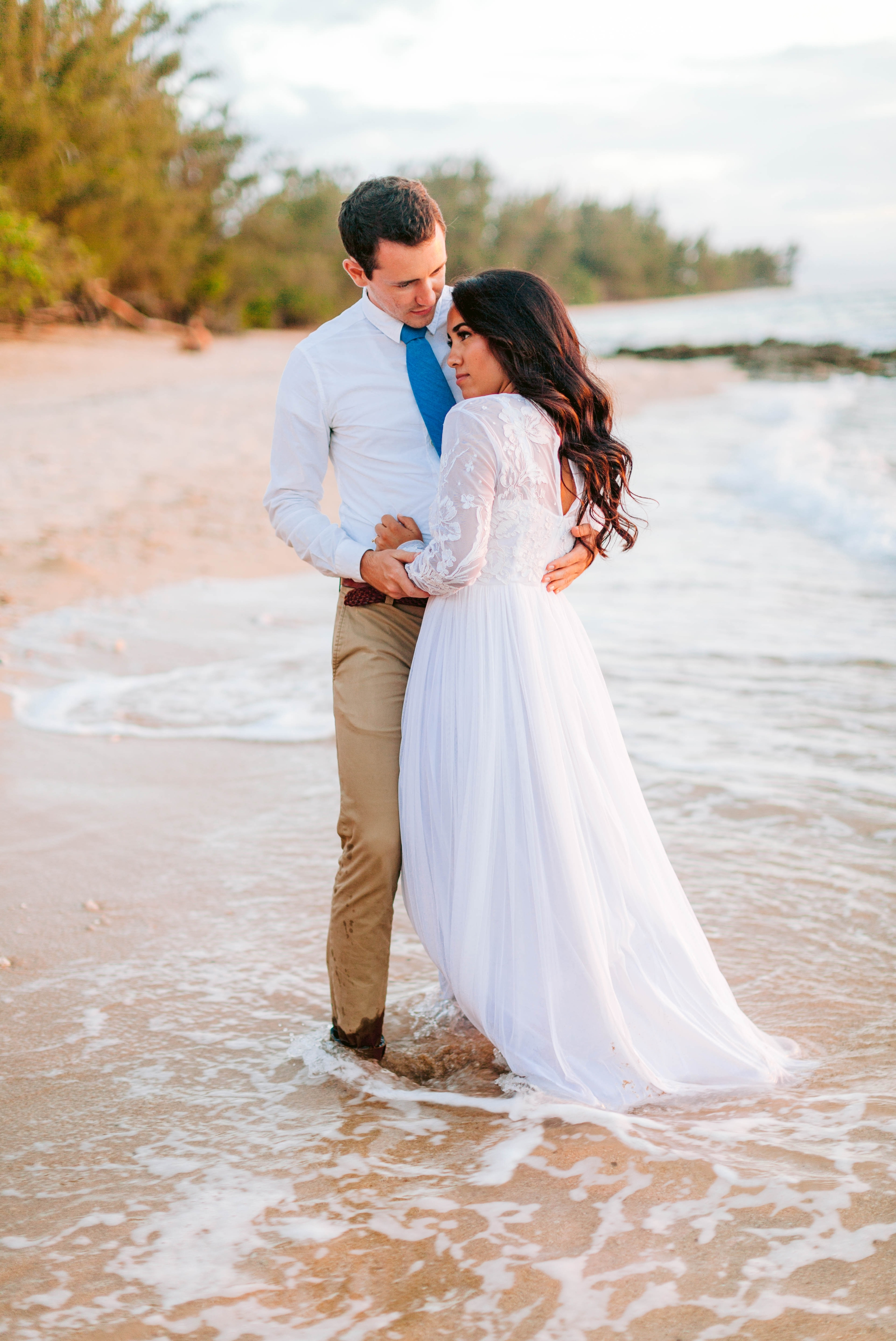 Bride and Groom - Wedding Portraits at Sunset in Hawaii - Ana + Elijah - Wedding at Loulu Palm in Haleiwa, HI - Oahu Hawaii Wedding Photographer - #hawaiiweddingphotographer #oahuweddings #hawaiiweddings