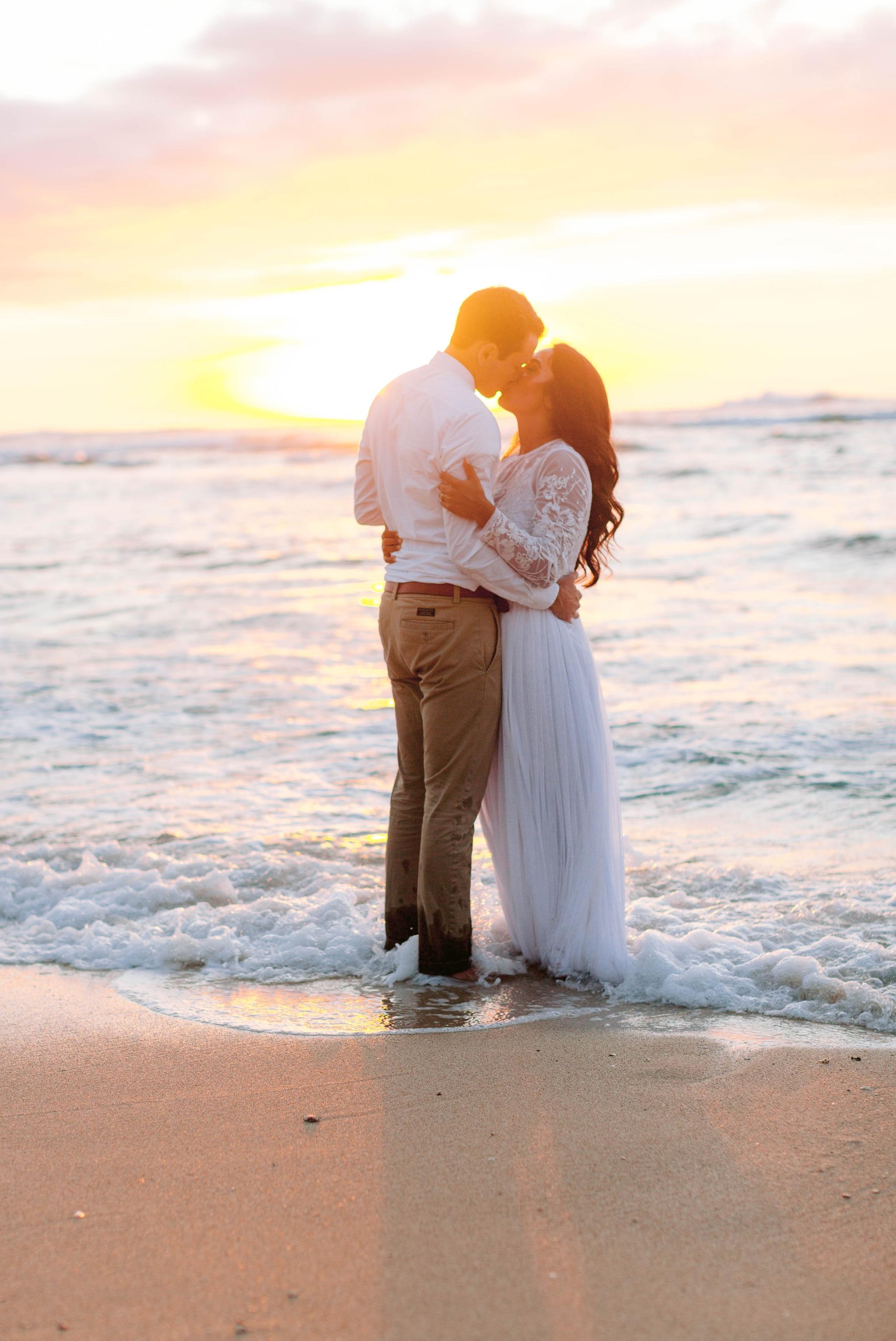 Bride and Groom - Wedding Portraits at Sunset in Hawaii - Ana + Elijah - Wedding at Loulu Palm in Haleiwa, HI - Oahu Hawaii Wedding Photographer - #hawaiiweddingphotographer #oahuweddings #hawaiiweddings