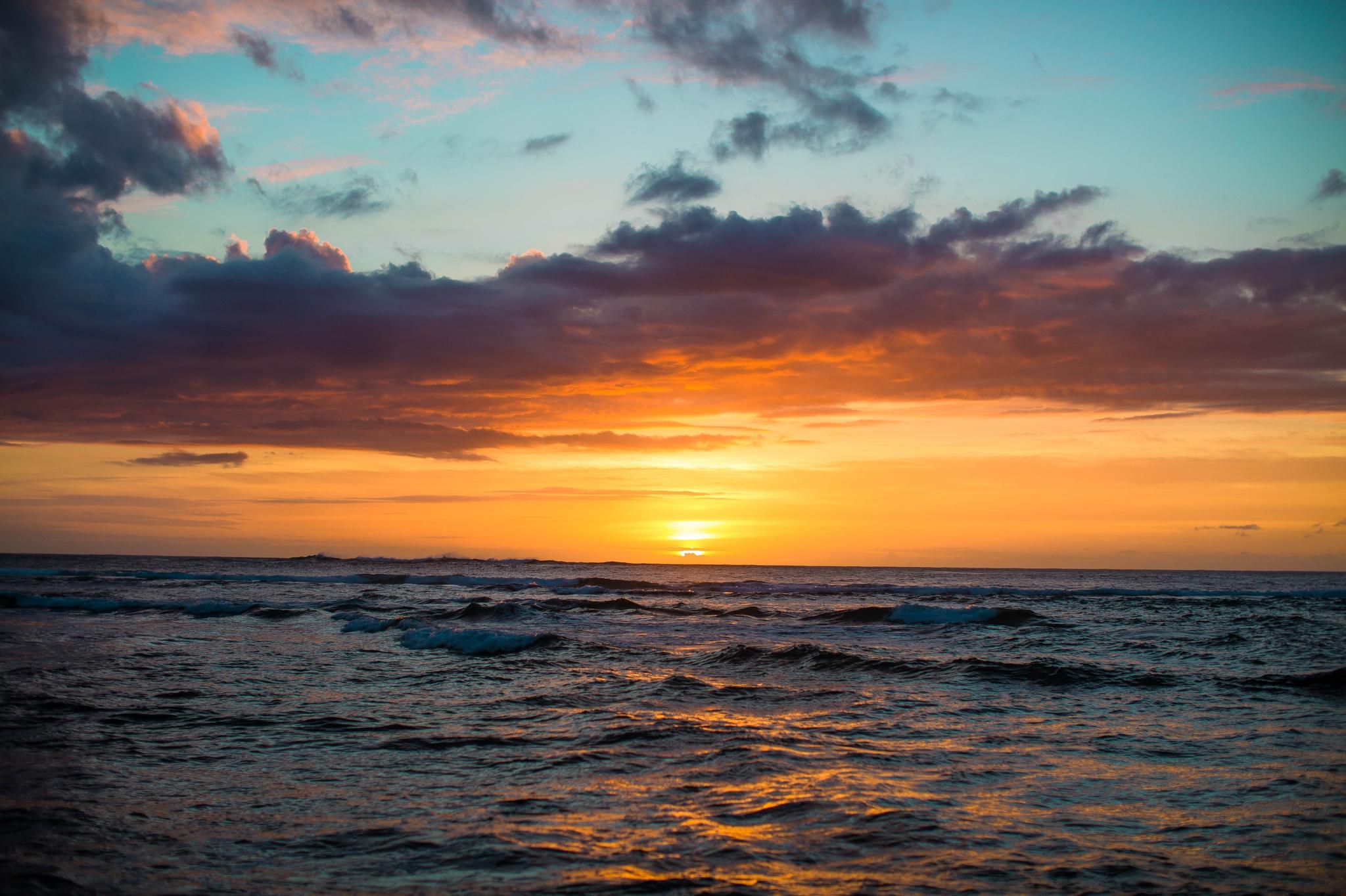 Sunset in Hawaii - Ana + Elijah - Wedding at Loulu Palm in Haleiwa, HI - Oahu Hawaii Wedding Photographer - #hawaiiweddingphotographer #oahuweddings #hawaiiweddings