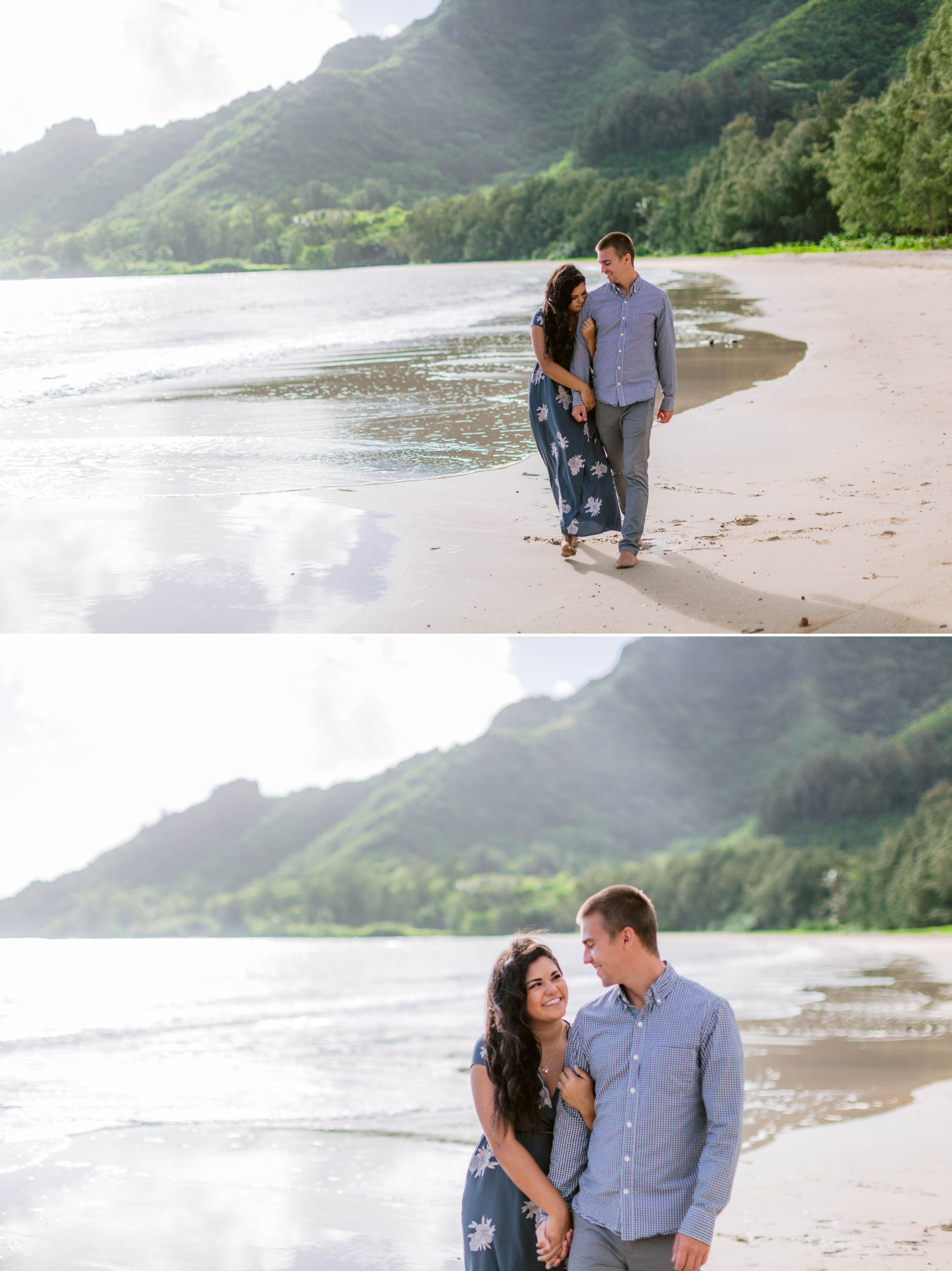 Couple Walking on the beach - Rilee + Max - Beach Engagement Session at Kahana Bay in Kaaawa, HI - Oahu Hawaii Wedding Photographer - #hawaiiengagementphotographer #oahuengagementphotographer