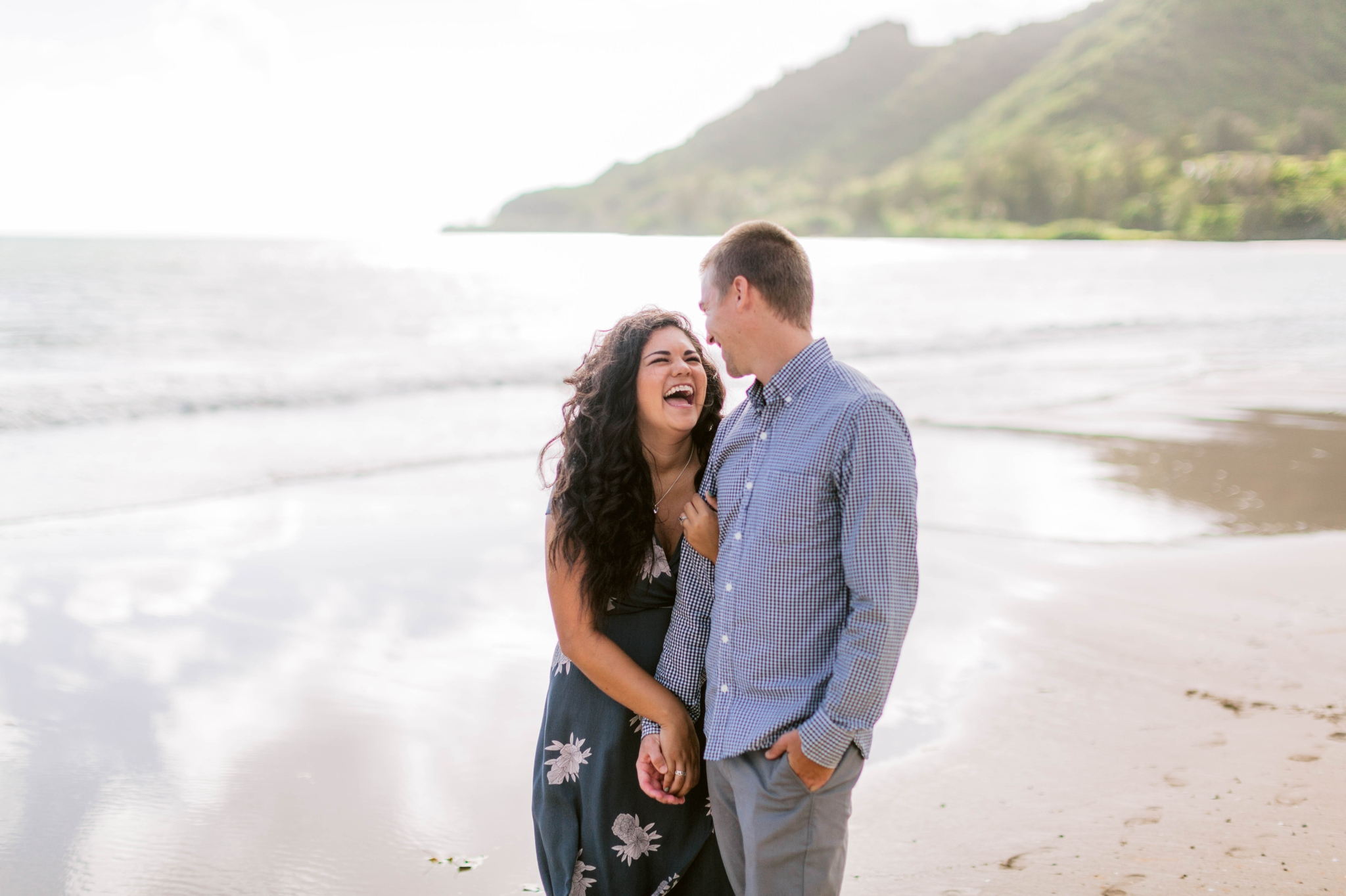 Girl smiling at her Fiance - Rilee + Max - Beach Engagement Session at Kahana Bay in Kaaawa, HI - Oahu Hawaii Wedding Photographer - #hawaiiengagementphotographer #oahuengagementphotographer