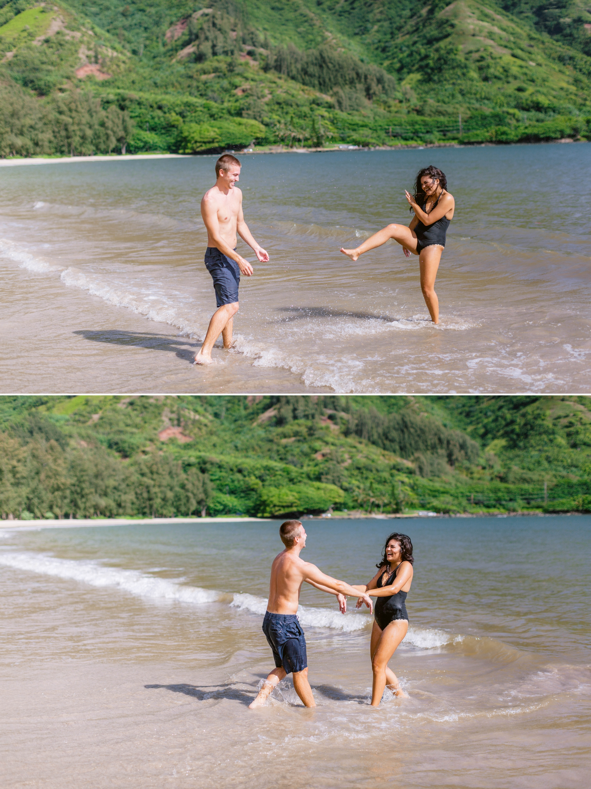 Couple playing in the ocean in their bathing suits - Rilee + Max - Beach Engagement Session at Kahana Bay in Kaaawa, HI - Oahu Hawaii Wedding Photographer - #hawaiiengagementphotographer #oahuengagementphotographer