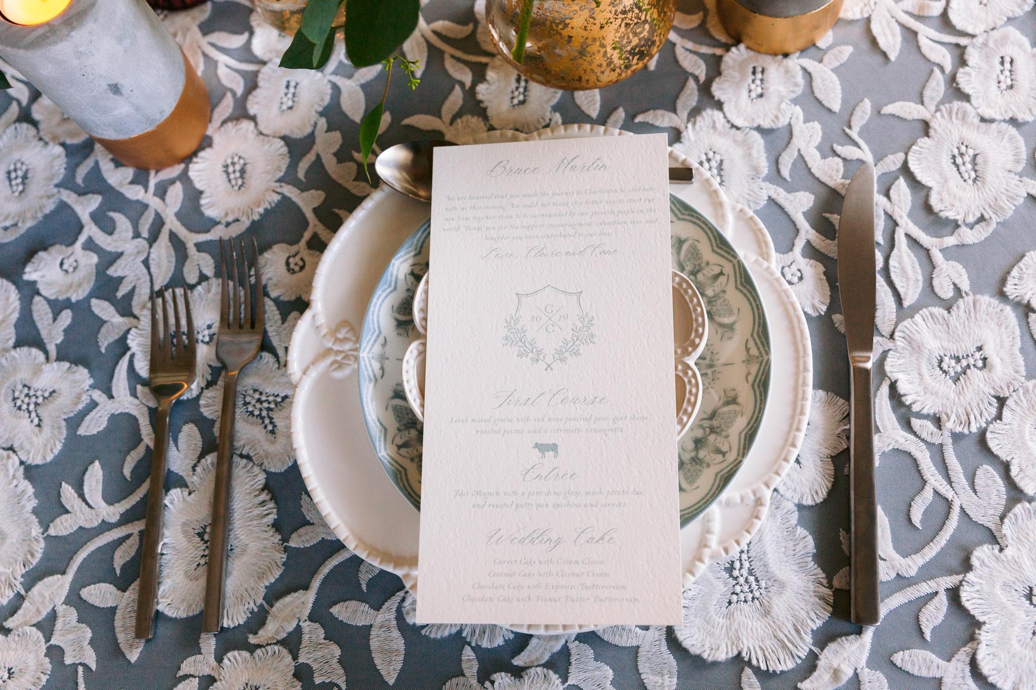 Place setting with dinner menu - Dusty Blue Wedding Inspiration - Honolulu, Oahu, Hawaii Wedding Photographer