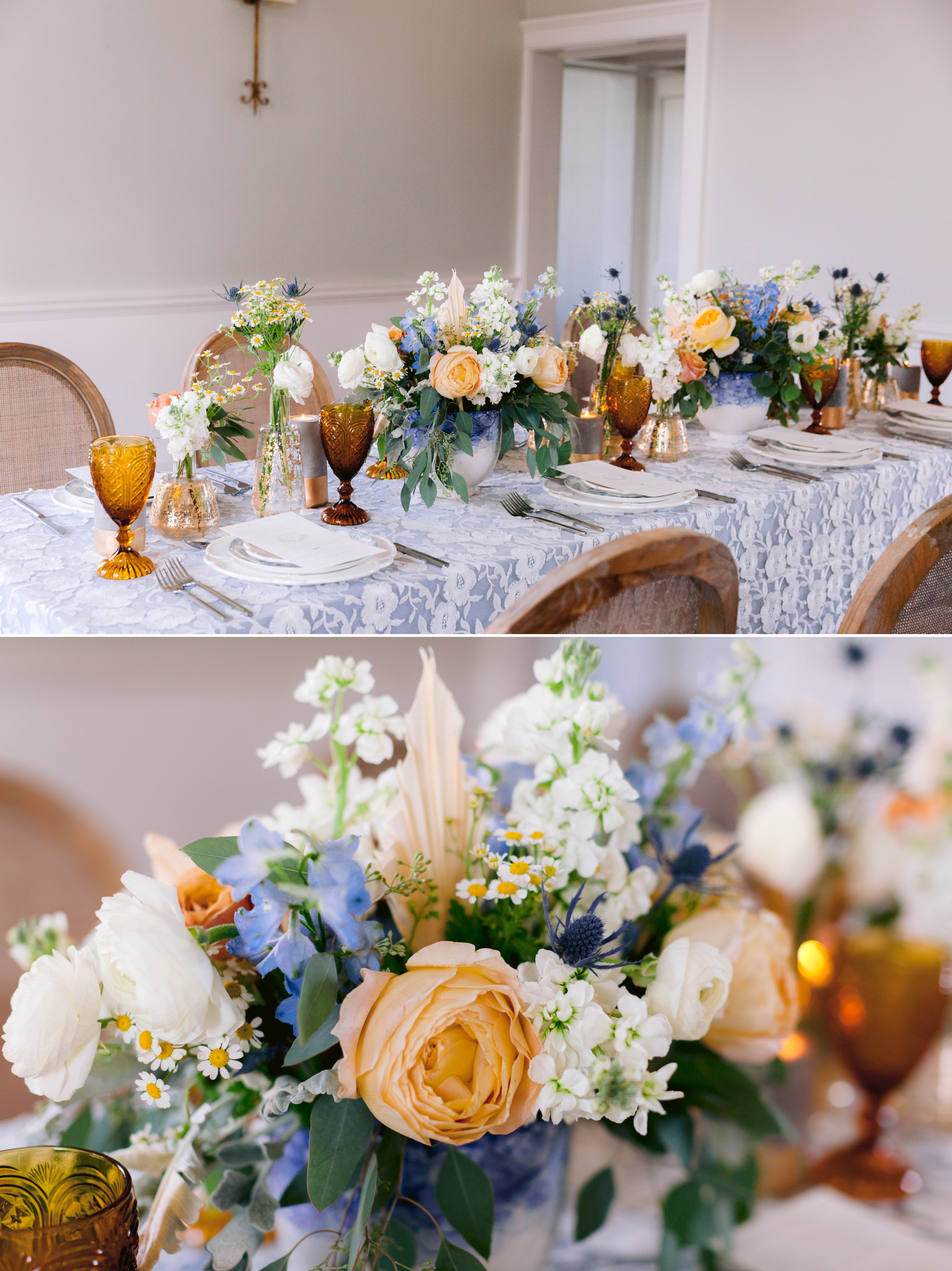 Table Set up with white and blue tablecloth, white and pastel china and pastel flowers - martha stewart weddings - style me pretty - Dusty Blue Wedding Inspiration - fine art photography - Honolulu, Oahu, Hawaii Wedding Photographer - johanna dye