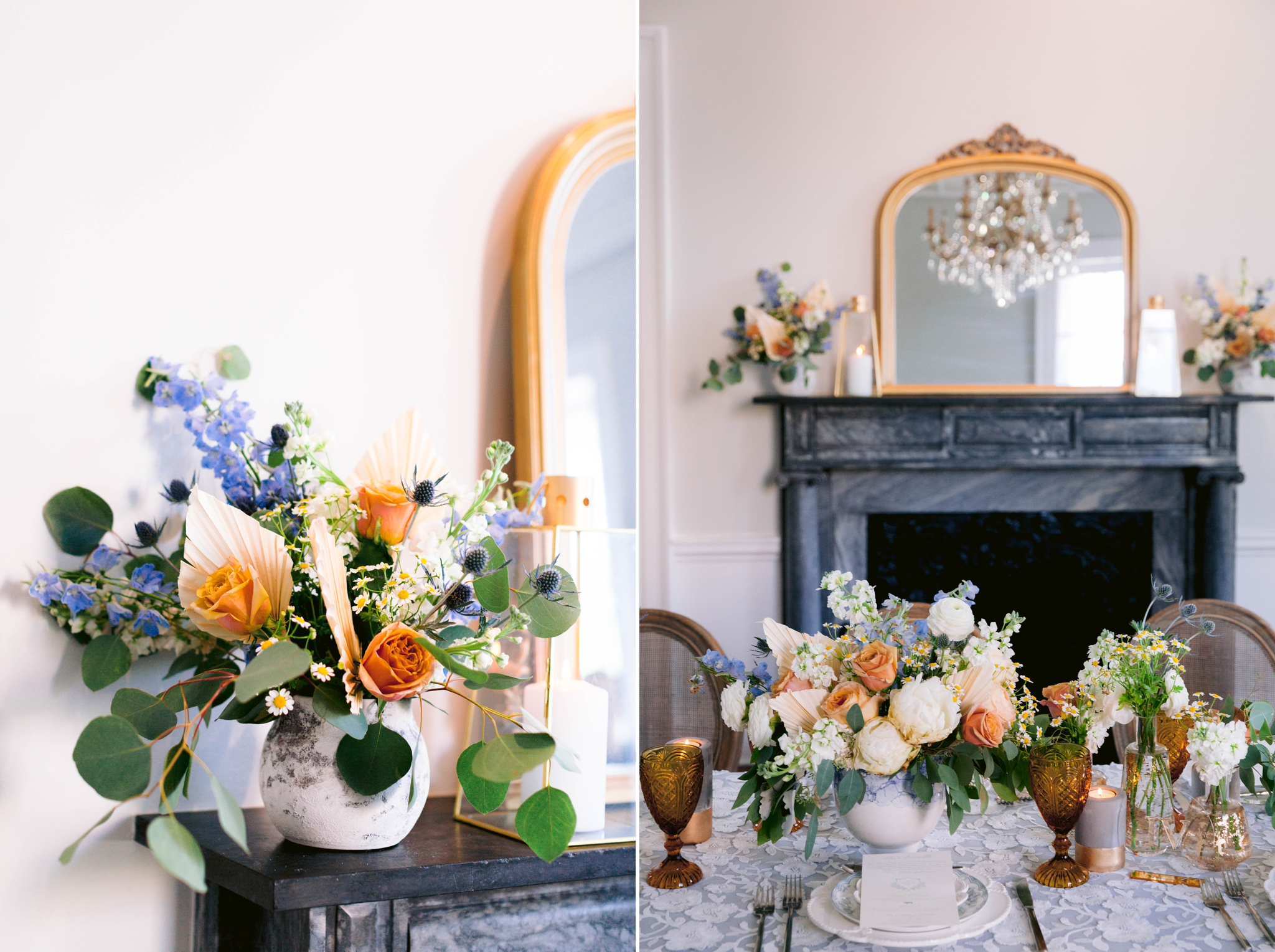 Marble fire place in old estate decorated - Table Set up with white and blue tablecloth, white and pastel china and pastel flowers - martha stewart weddings - style me pretty - Dusty Blue Wedding Inspiration - fine art photography - Honolulu, Oahu, Hawaii Wedding Photographer - johanna dye