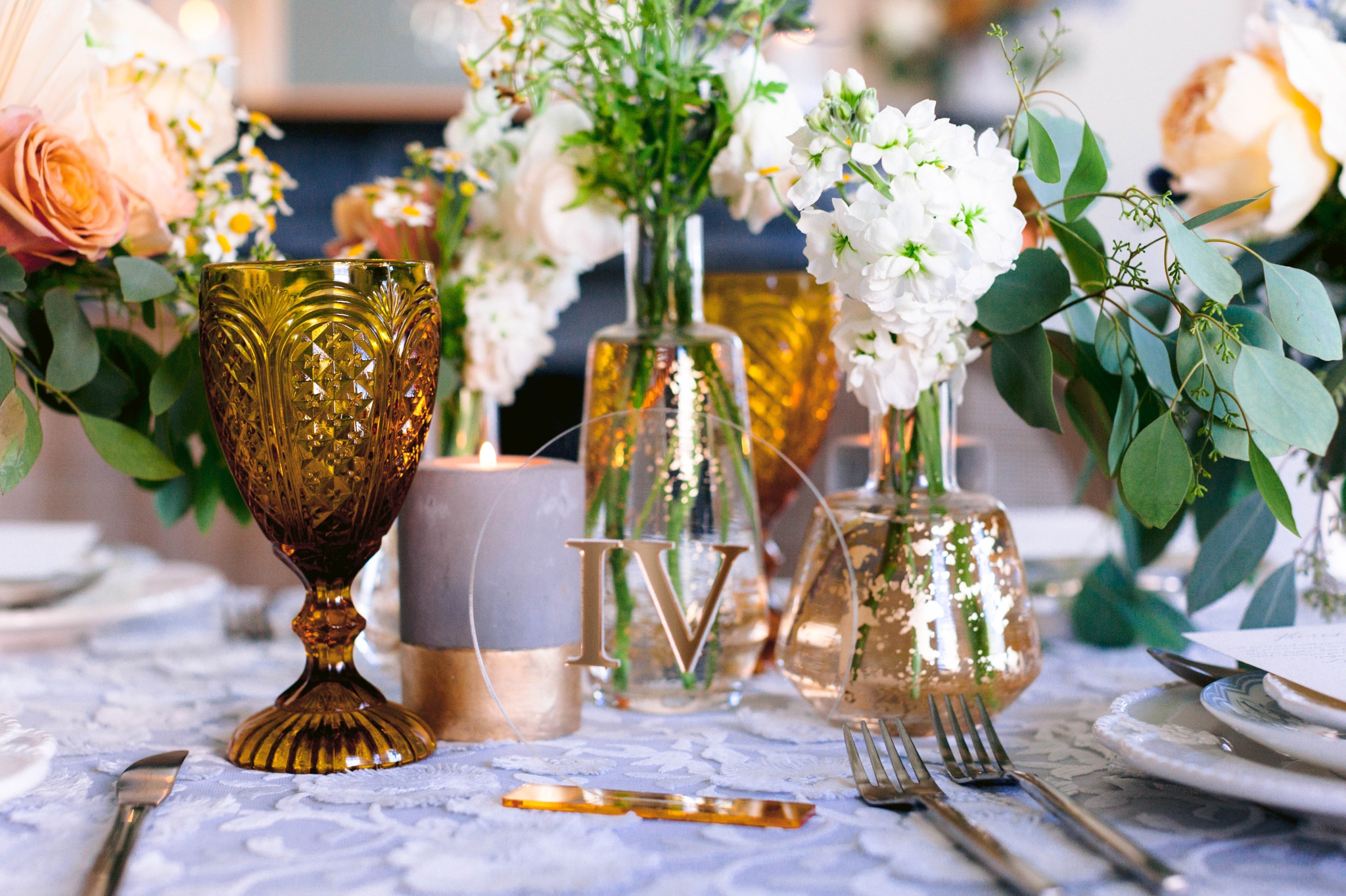 Gold Table Number  - Wedding Table Set up with white and blue tablecloth, white and pastel china and pastel flowers - martha stewart weddings - style me pretty - Dusty Blue Wedding Inspiration - fine art photography - Honolulu, Oahu, Hawaii Wedding Photographer - johanna dye