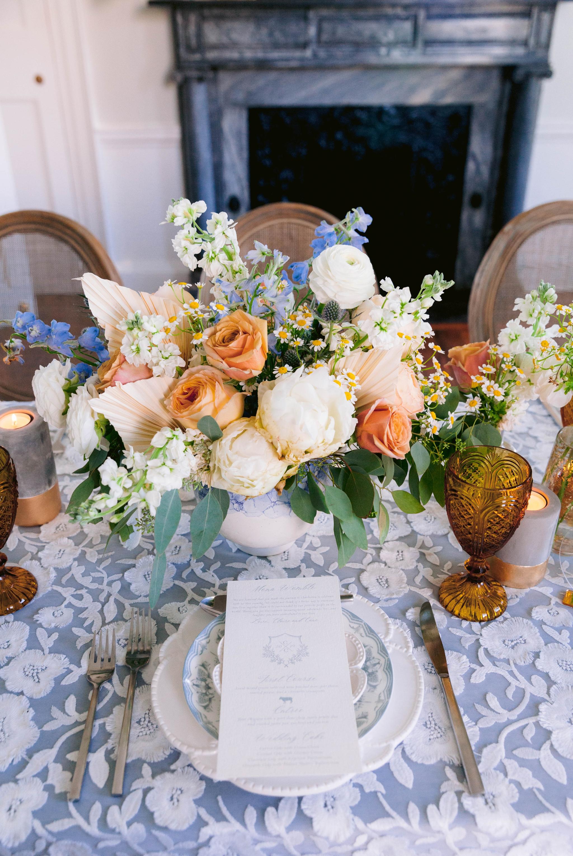 Table setting - - Wedding Table Set up with white and blue tablecloth, white and pastel china and pastel flowers - martha stewart weddings - style me pretty - Dusty Blue Wedding Inspiration - fine art photography - Honolulu, Oahu, Hawaii Wedding Photographer - johanna dye