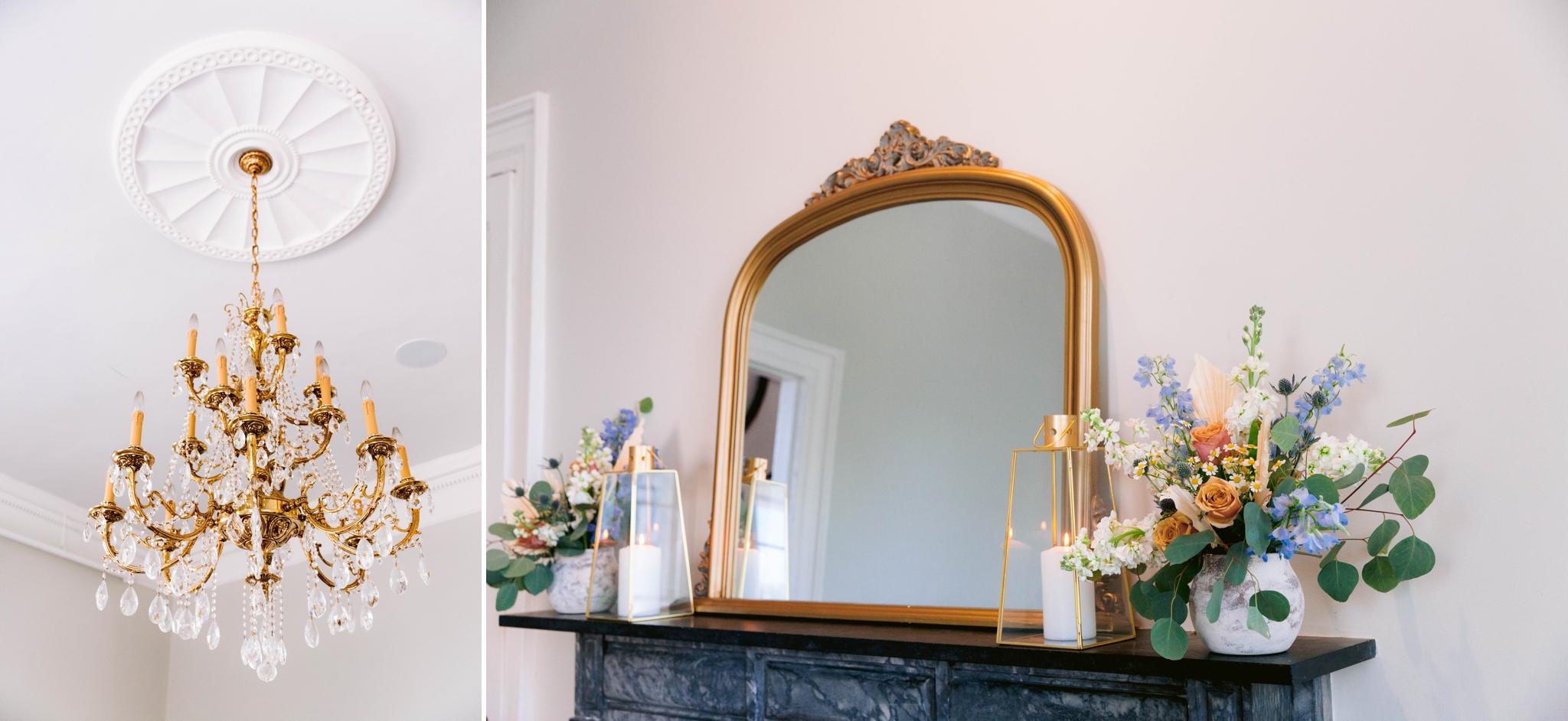 Gorgeous gold chandelier and marble fireplace - Wedding Table Set up with white and blue tablecloth, white and pastel china and pastel flowers - martha stewart weddings - style me pretty - Dusty Blue Wedding Inspiration - fine art photography - Honolulu, Oahu, Hawaii Wedding Photographer - johanna dye