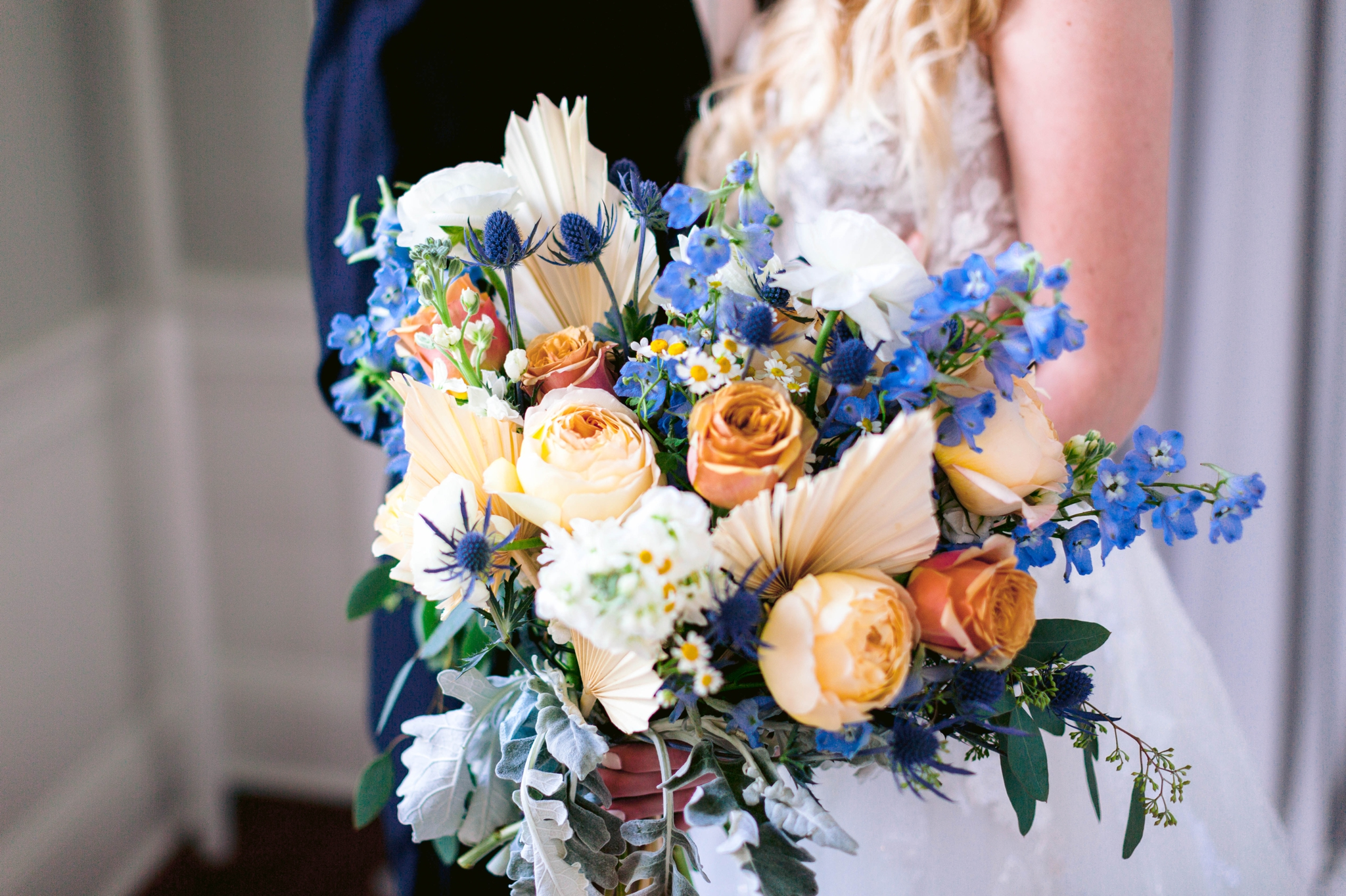 Bridal bouquet with orange, white and blue flowers - Bride and Groom Fine art indoor natural light photography - black tucks and a ballgown wedding dress in an old estate - martha stewart weddings - style me pretty - Dusty Blue Wedding Inspiration - fine art photography - Honolulu, Oahu, Hawaii Wedding Photographer - johanna dye