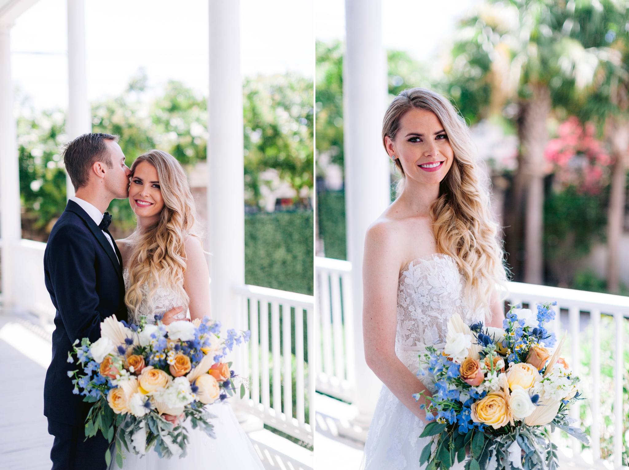 Bride and Groom Fine art natural light photography - black tucks and a ballgown wedding dress on a white porch with palm trees in the background - martha stewart weddings - style me pretty - Dusty Blue Wedding Inspiration - fine art photography - Honolulu, Oahu, Hawaii Wedding Photographer - johanna dye