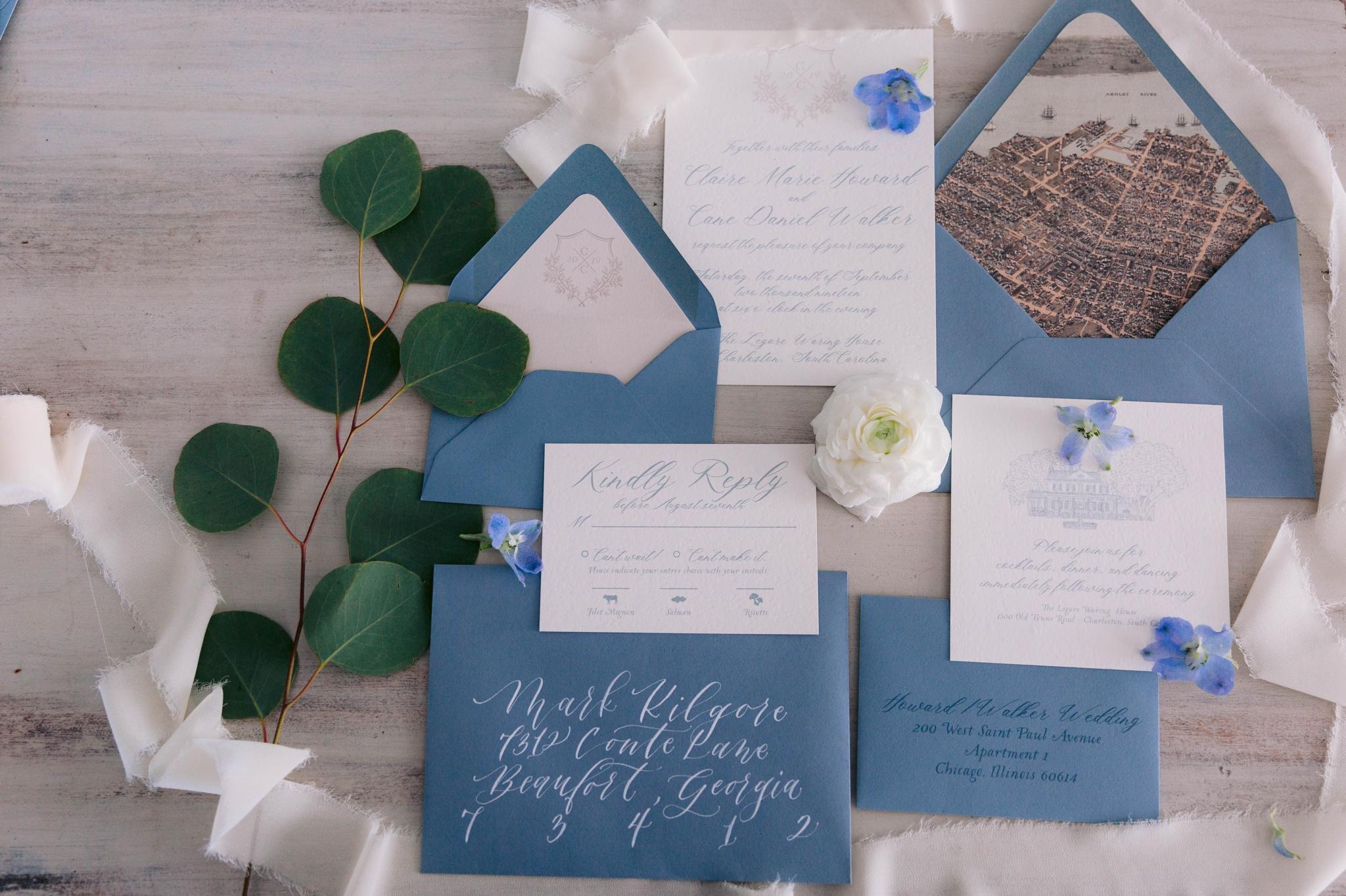dusty blue wedding invitation suite - martha stewart weddings - style me pretty - Dusty Blue Wedding Inspiration - fine art photography - Honolulu, Oahu, Hawaii Wedding Photographer - johanna dye