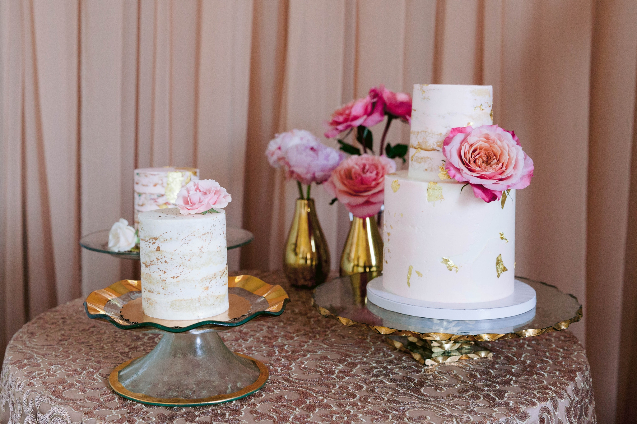 Wedding Cake and Desert Table Inspiration -  Decorated with gold details and pink flowers - Blush and Gold Wedding Inspiration - Honolulu, Oahu, Hawaii Wedding Photographer - Johanna Dye Photography - Martha Stewart Weddings - Style Me Pretty