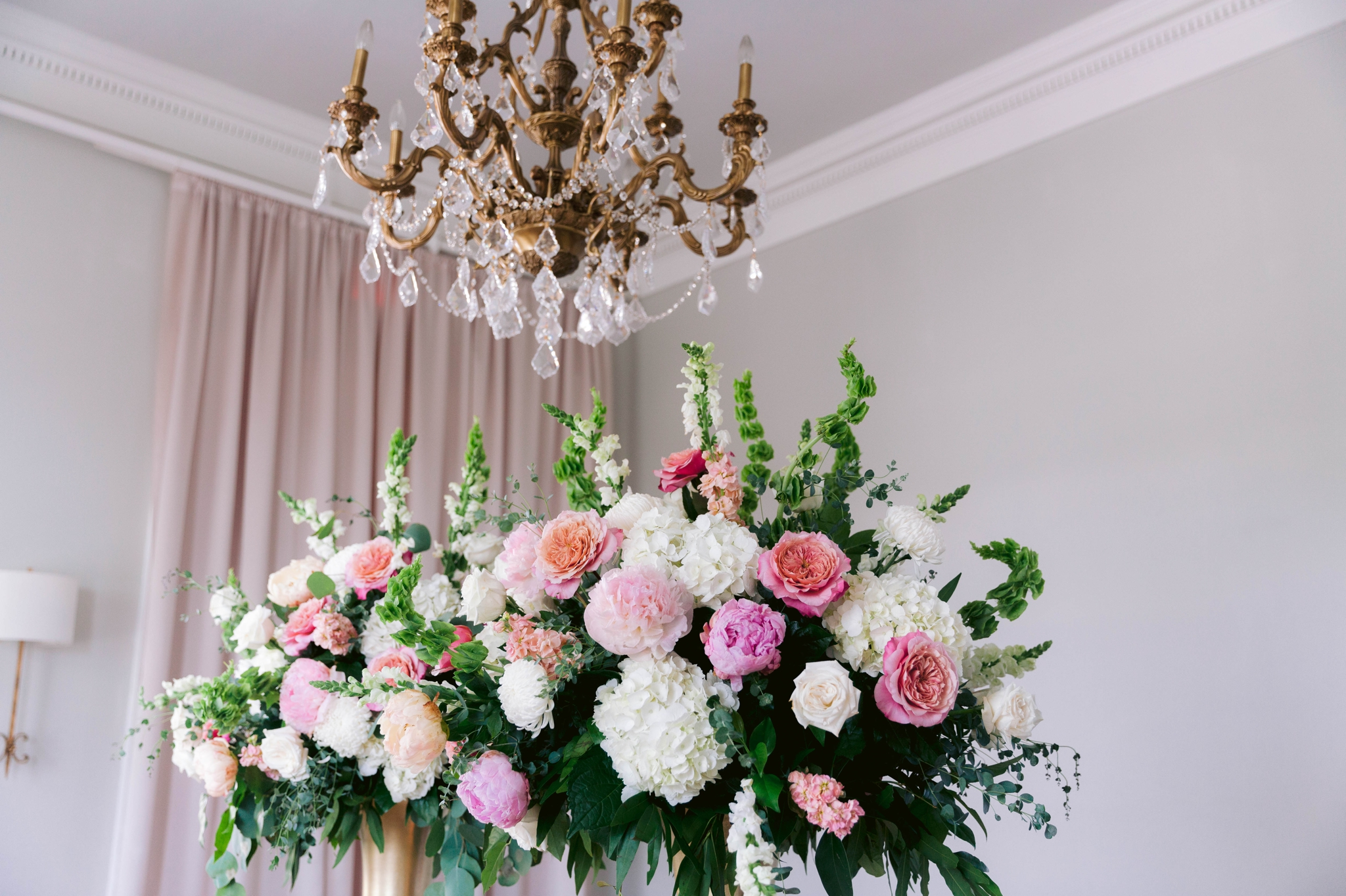 Reception Table with tall gold vases and draped flowers in blush and white - pink table cloth and gold table setting - Blush and Gold Wedding Inspiration - Honolulu, Oahu, Hawaii Wedding Photographer - Johanna Dye Photography - Martha Stewart Weddings - Style Me Pretty