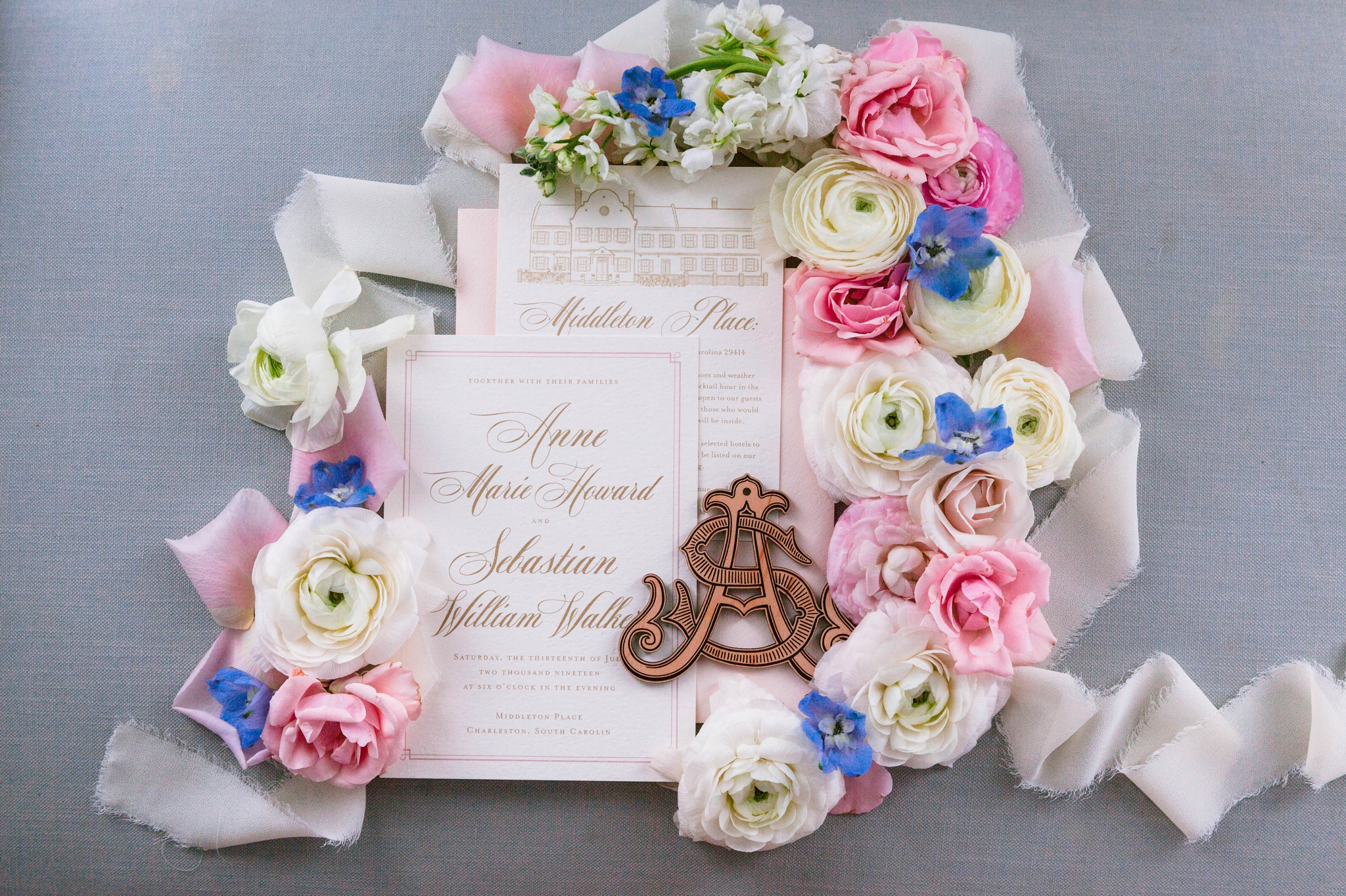 Wedding Invitation Flat Lay with lots of pastel flowers in pink and blue - Blush and Gold Wedding Inspiration - Honolulu, Oahu, Hawaii Wedding Photographer - Johanna Dye Photography - Martha Stewart Weddings - Style Me Pretty