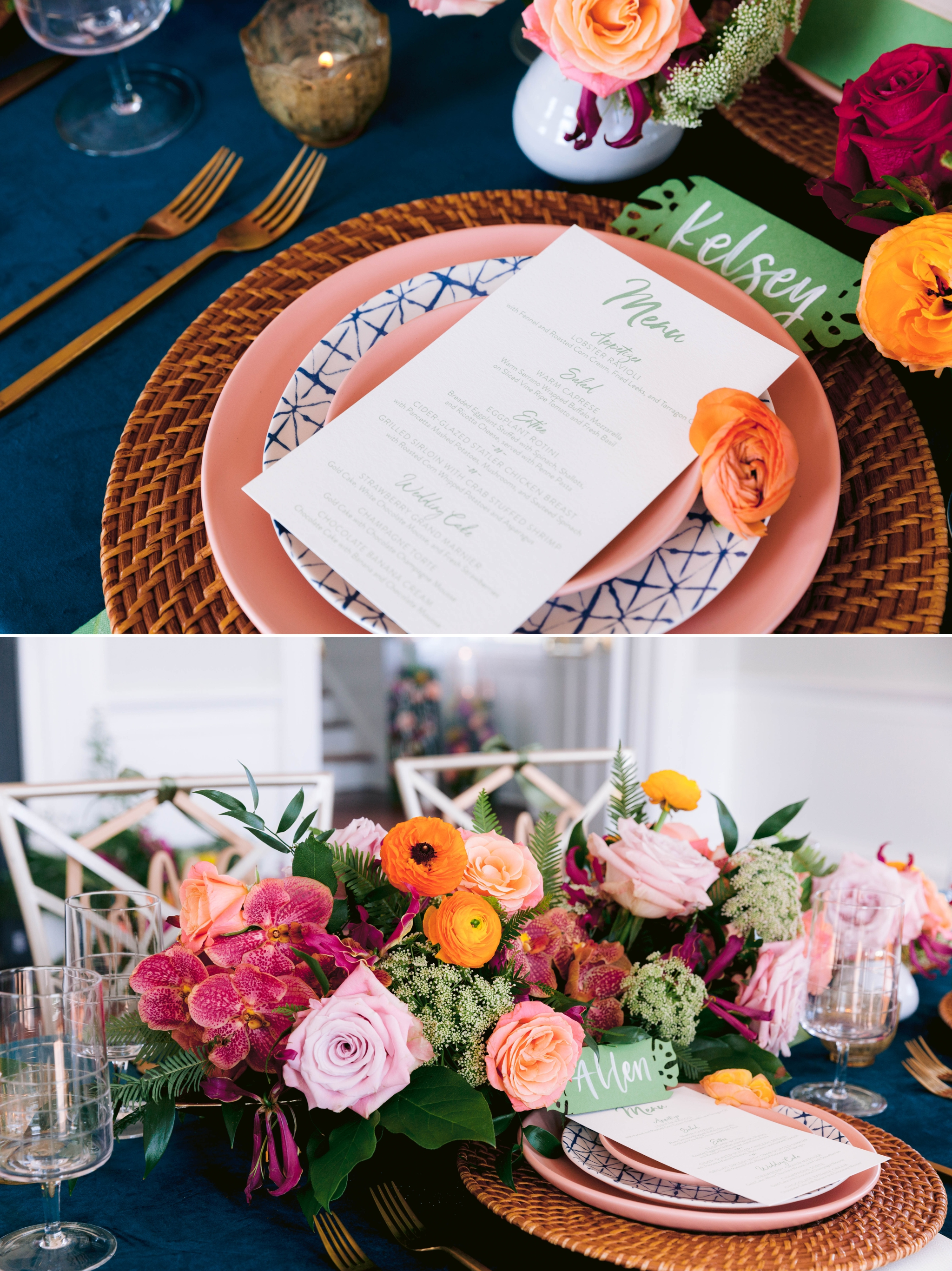 Table Setting with a gorgeous colorful flower arrangement, blush and blue plates with gold flatware and a tropical name card as well as a calligraphy menue
