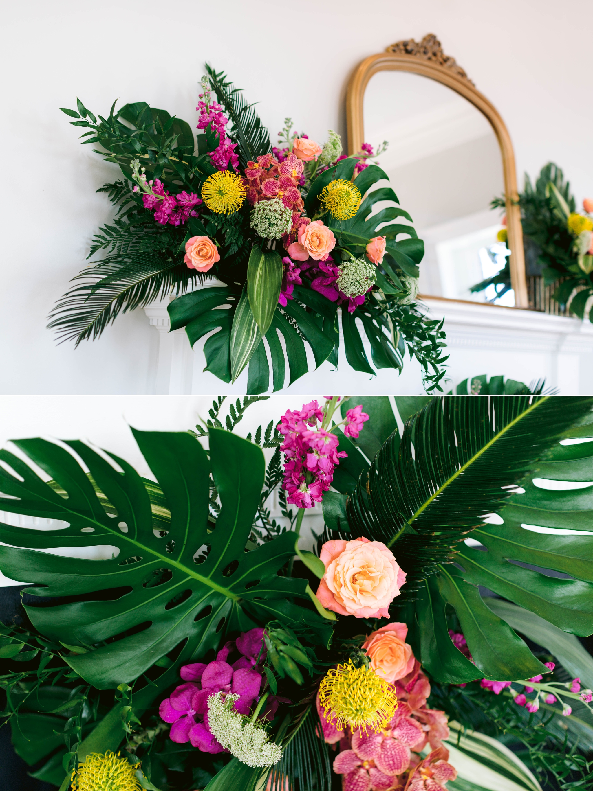 Fireplace decorated with gorgeous Hawaiian tropical florals - Table Setting with a gorgeous colorful flower arrangement, blush and blue plates with gold flatware and a tropical name card as well as a calligraphy menu - Navy, Green, Gold and Berry colored Tropical Wedding Inspiration for your Wedding in Hawaii! - Honolulu, Oahu, Hawaii Photographer
