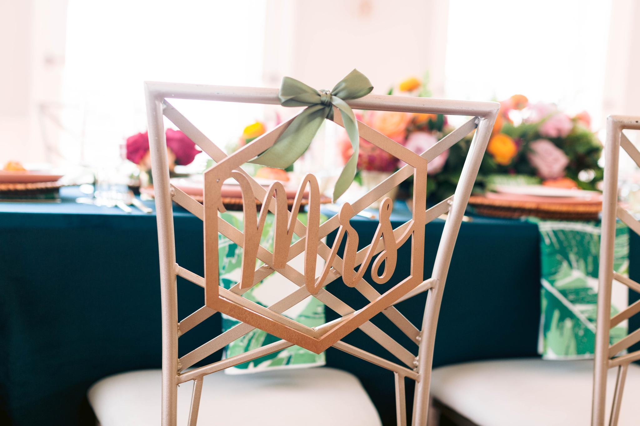 Mrs Chair Sign in Gold - Navy, Green, Gold and Berry colored Tropical Wedding Inspiration for your Wedding in Hawaii! - Honolulu, Oahu, Hawaii Photographer