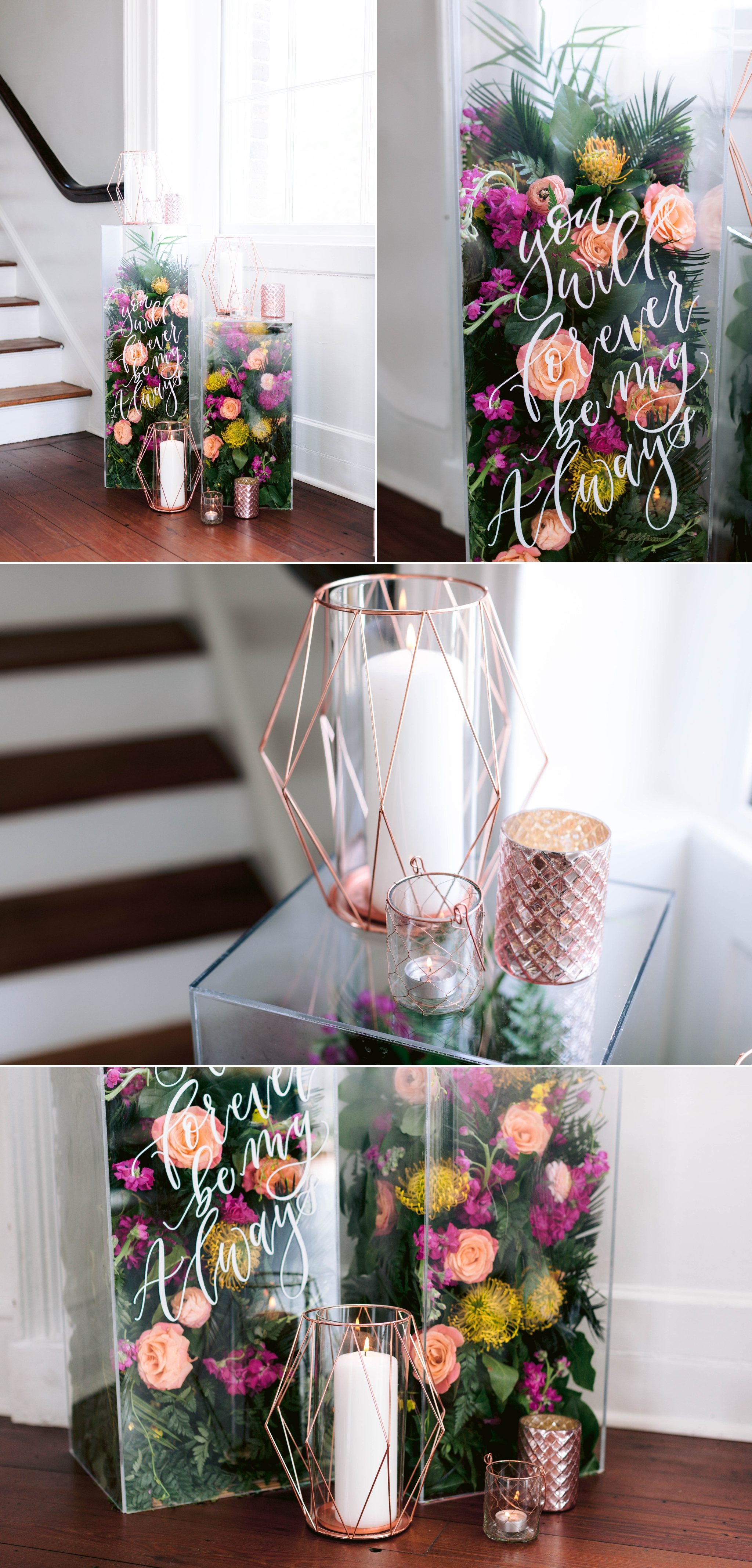Welcome to our Wedding Signs and Decorations with a ton of tropical colorful flowers in Acrylic Containers with gorgeous calligraphy - Navy, Green, Gold and Berry colored Tropical Wedding Inspiration for your Wedding in Hawaii! - Honolulu, Oahu, Hawaii Photographer