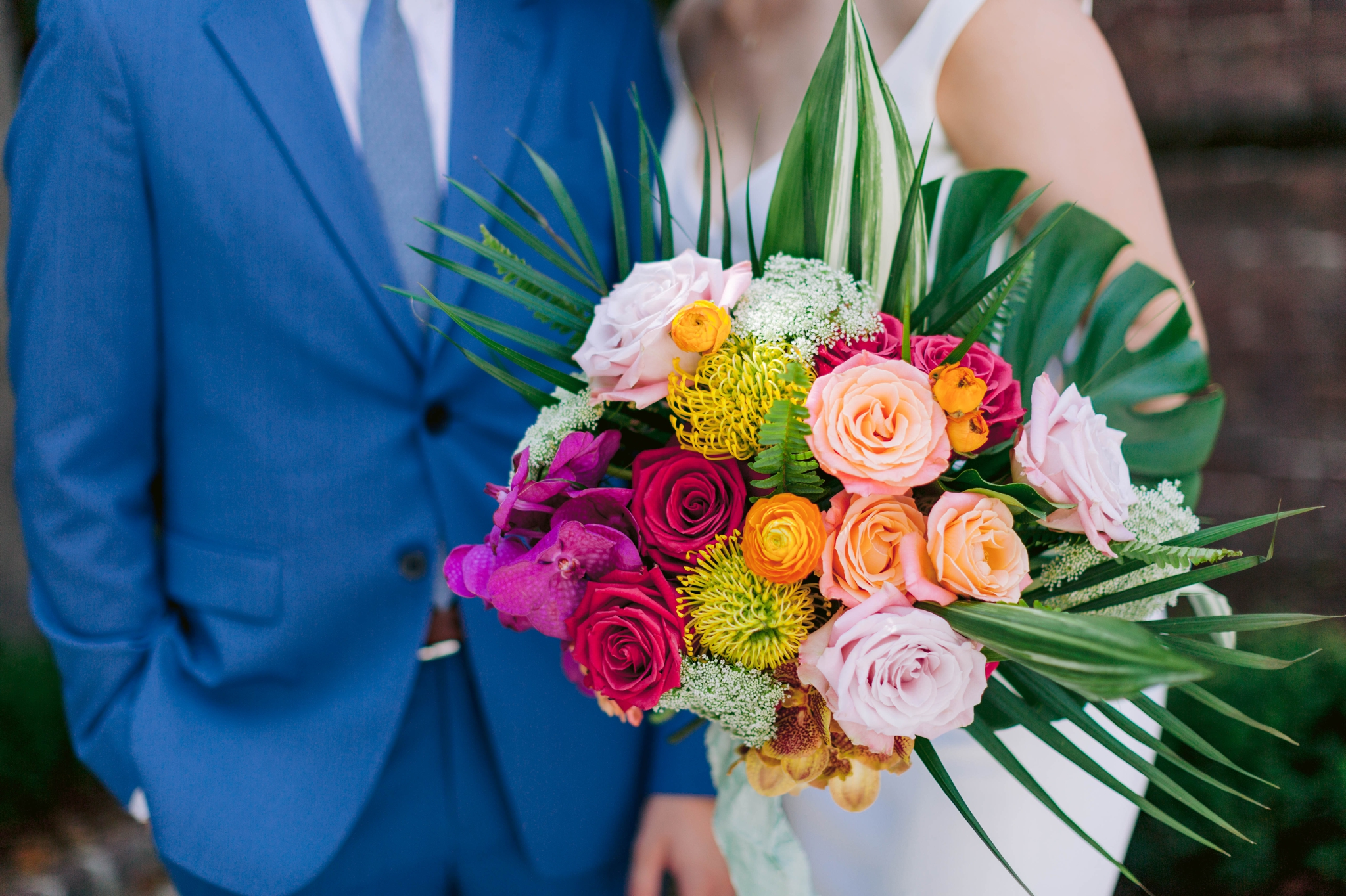 Colorful Hawaiian tropical flower bouquet  - Navy, Green, Gold and Berry colored Tropical Wedding Inspiration for your Wedding in Hawaii! - Honolulu, Oahu, Hawaii Photographer - Fine Art Film Photography - Light and Airy