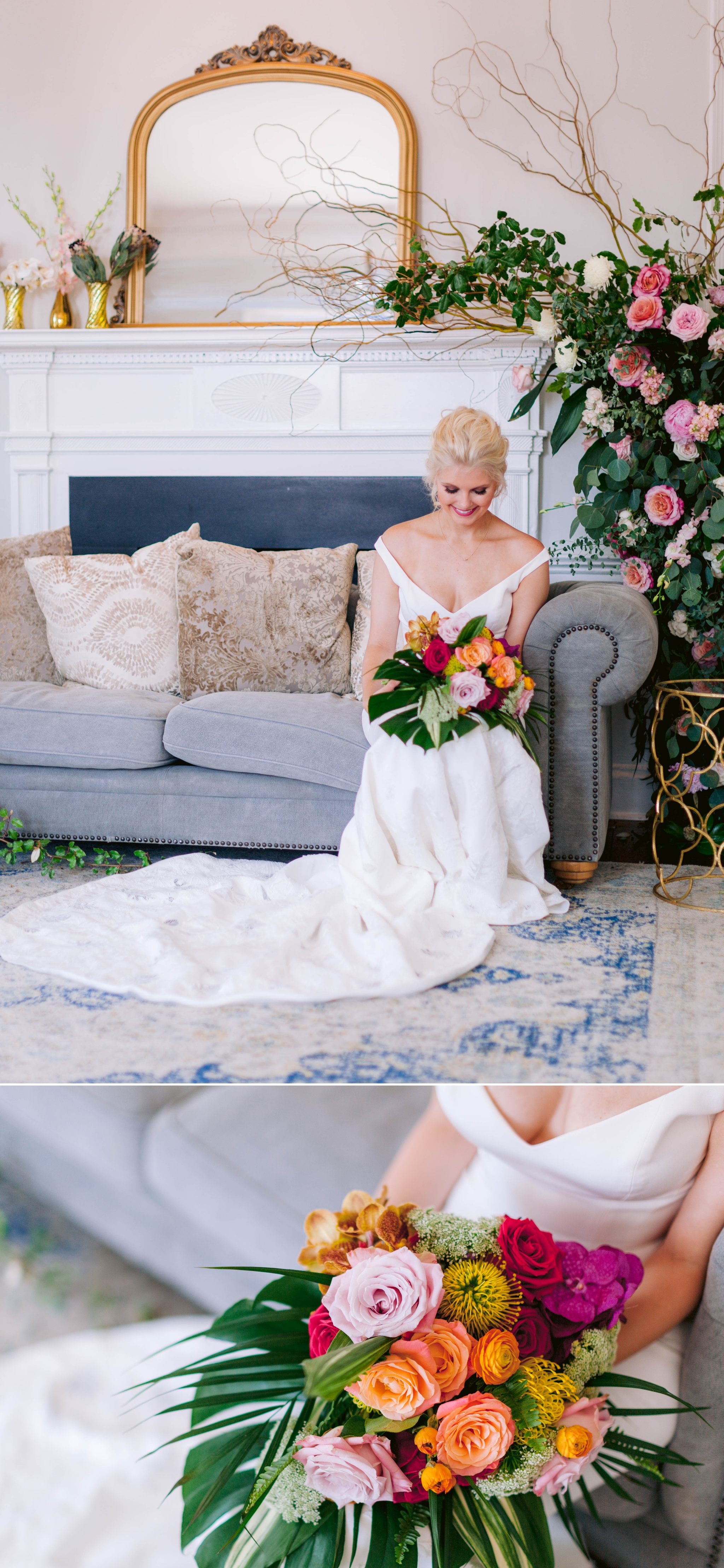 Bridal Portraits indoors on a light blue sofa with gorgeous florals draped - Navy, Green, Gold and Berry colored Tropical Wedding Inspiration for your Wedding in Hawaii! - Honolulu, Oahu, Hawaii Photographer - Fine Art Film Photography - Light and Airy