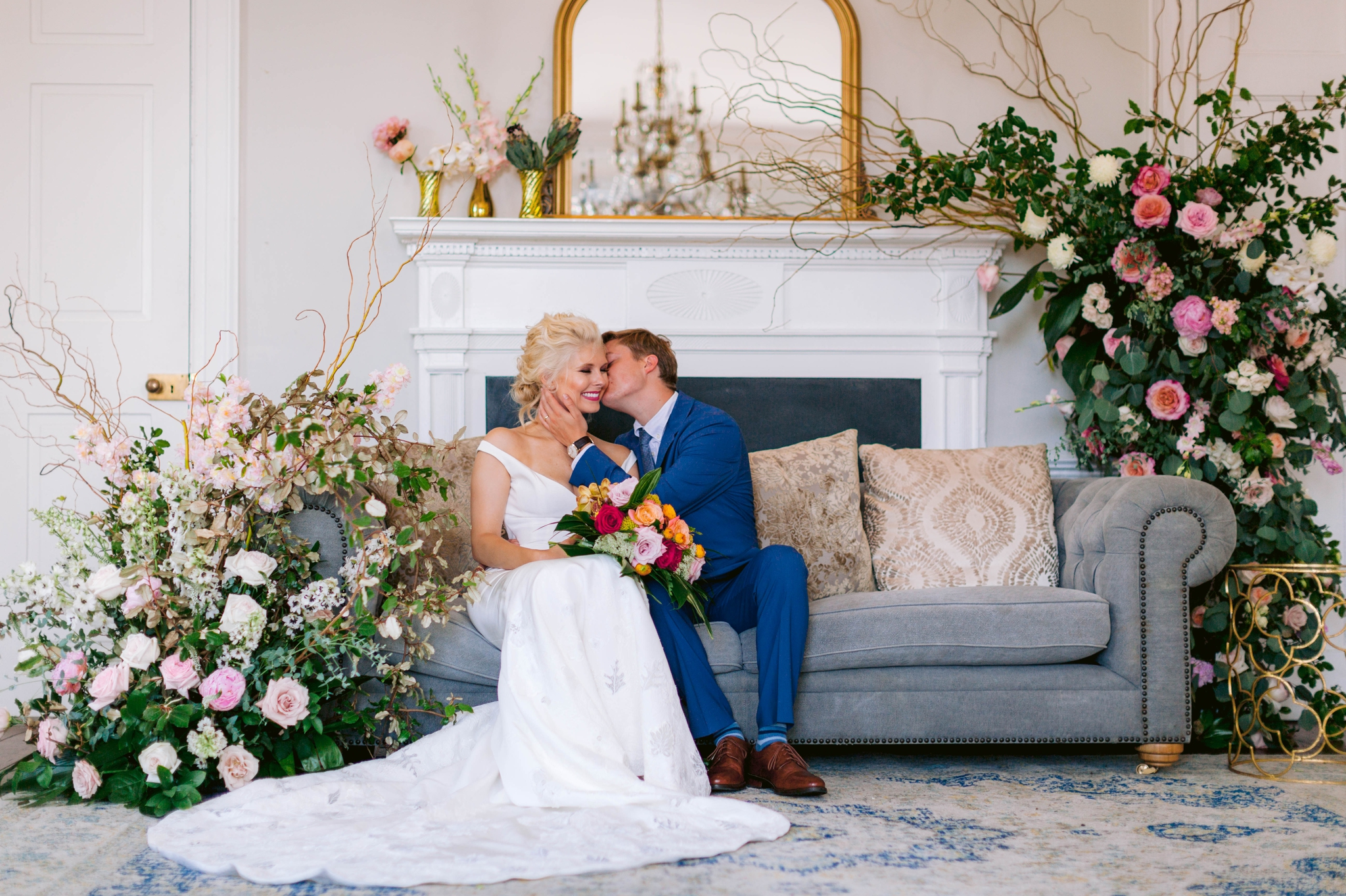 Fine Art High Fashion Indoor Bride and Groom Portrait - Navy, Green, Gold and Berry colored Tropical Wedding Inspiration for your Wedding in Hawaii! - Honolulu, Oahu, Hawaii Photographer - Fine Art Film Photography - Light and Airy