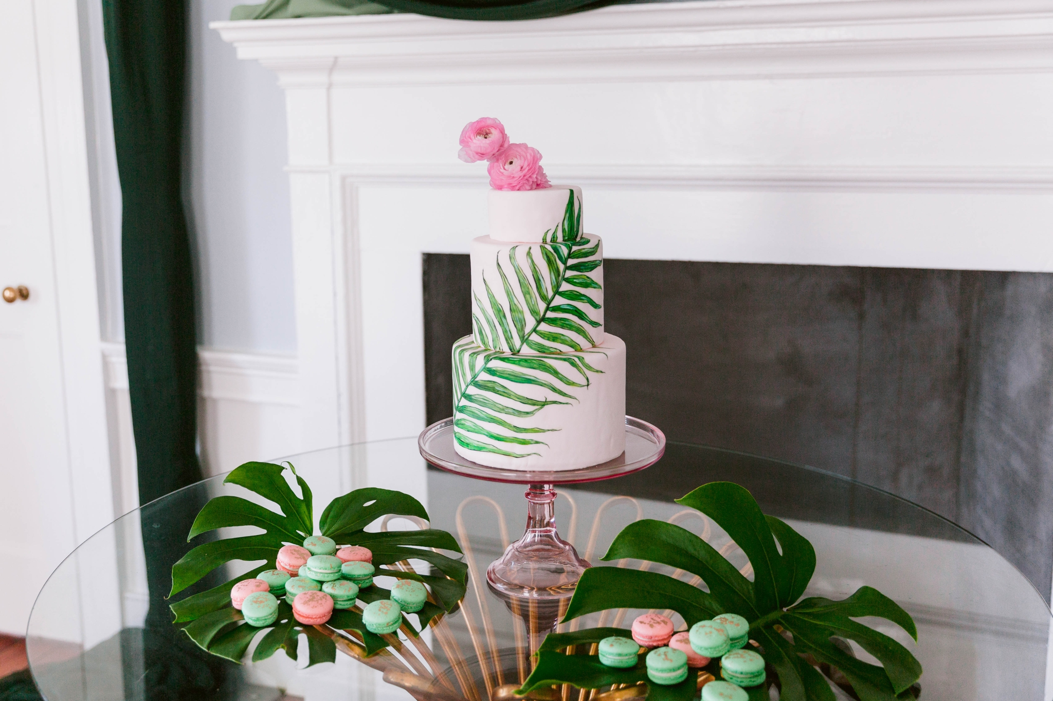 Tropical Wedding Cake and desert table with macarons - Navy, Green, Gold and Berry colored Tropical Wedding Inspiration for your Wedding in Hawaii! - Honolulu, Oahu, Hawaii Photographer - Fine Art Film Photography - Light and Airy