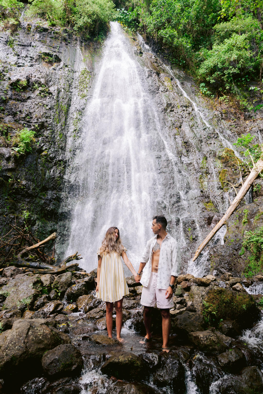 Adventure Couples Session at a Waterfall - Kailua, Oahu, Hawaii Engagement Photographer - Johanna Dye