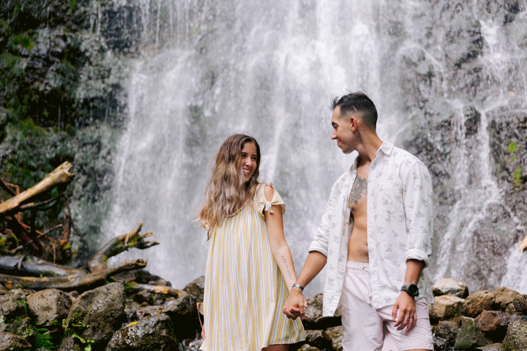 Adventure Couples Session at a Waterfall - Kailua, Oahu, Hawaii Engagement Photographer - Johanna Dye