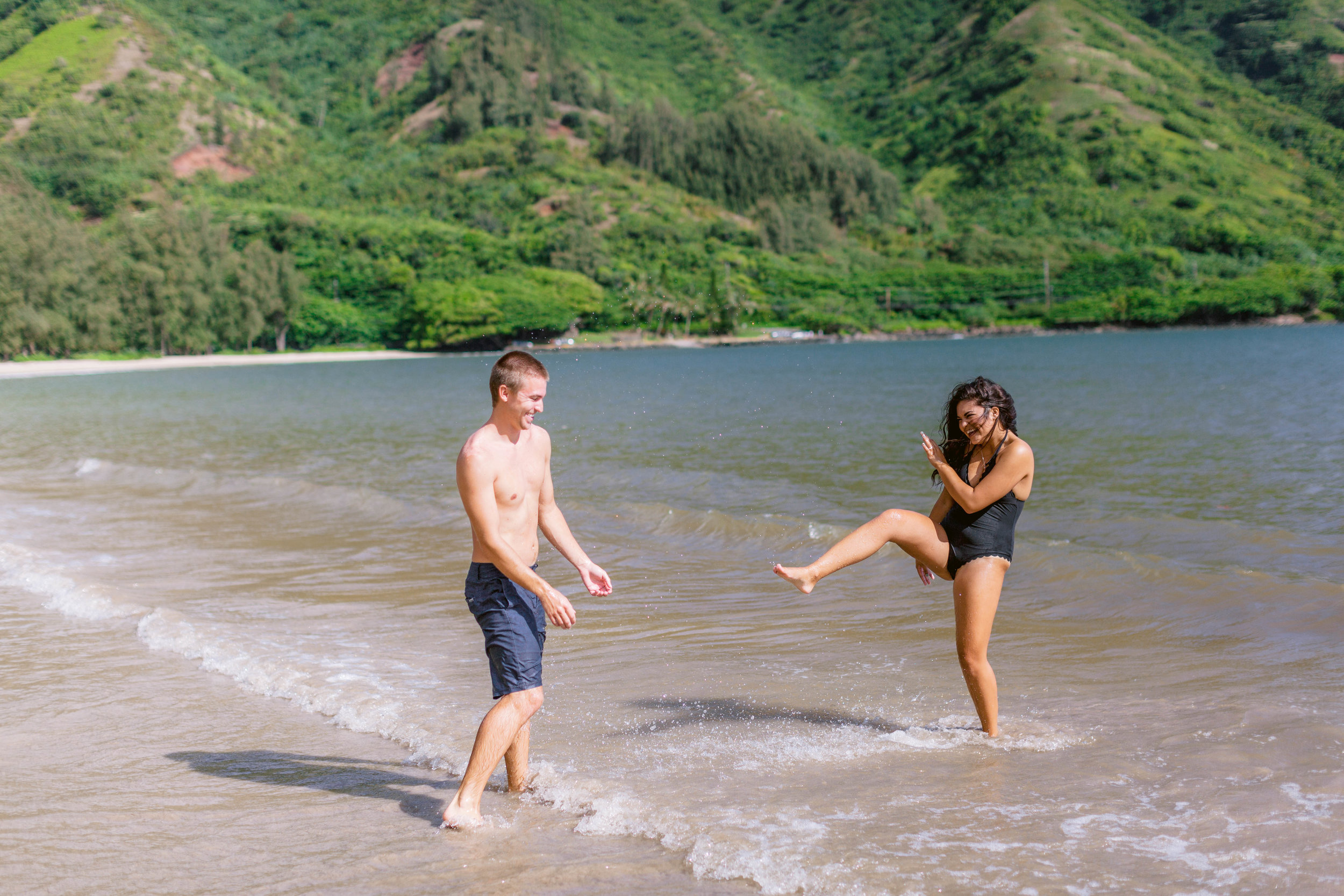 Kahana Bay Engagement Session - Oahu Hawaii Wedding Photographer