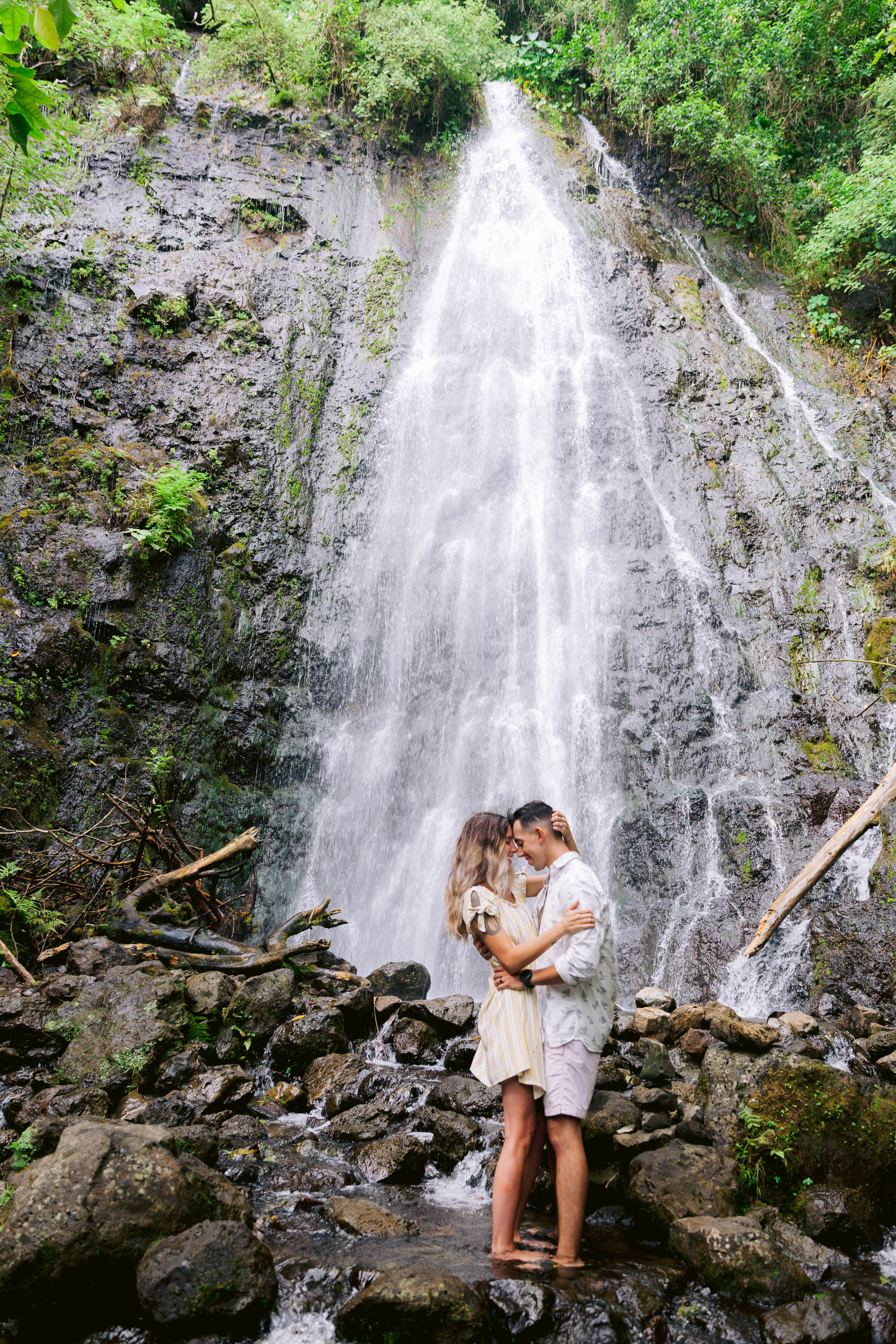 Engagement Session at a Waterfall - Oahu Hawaii Wedding Photographer