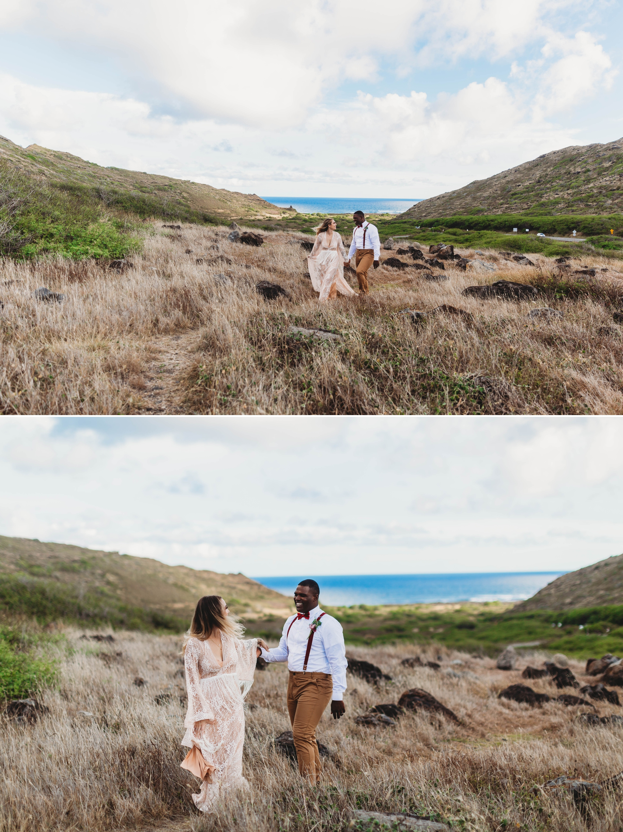 groom leading his bride down a grassy path - Elopement at Makapuu Lookout, Waimanalo, HI - Oahu Hawaii Engagement Photographer - Bride in a flowy fringe boho wedding dress - in grassy mountains with the ocean in the back - lanikai lookout - deutsche hochzeits fotografin in hawaii - smal1  - dark and moody - true to live