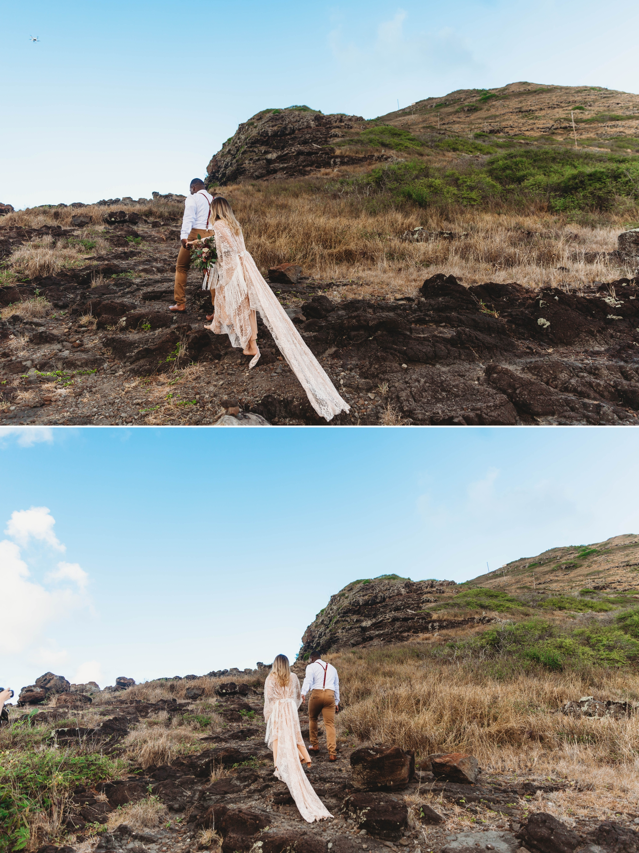 couple walking up the mountain - Elopement at Makapuu Lookout, Waimanalo, HI - Oahu Hawaii Engagement Photographer - Bride in a flowy fringe boho wedding dress - lanikai lookout - deutsche hochzeits fotografin in hawaii - smal1 - dark and moody - true to live