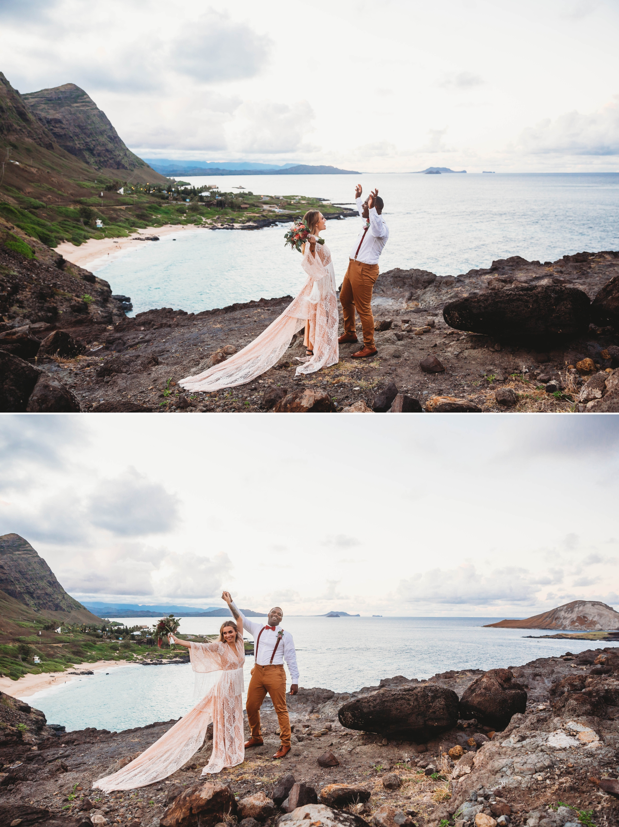 couple cheering after they got married - wedding ceremony at Makapuu Lookout overlooking the ocean and beach, Waimanalo, HI - Oahu Hawaii Engagement Photographer - Bride in a flowy fringe boho wedding dress - lanikai lookout - deutsche hochzeits fotografin in hawaii - smal1 - dark and moody - true to live