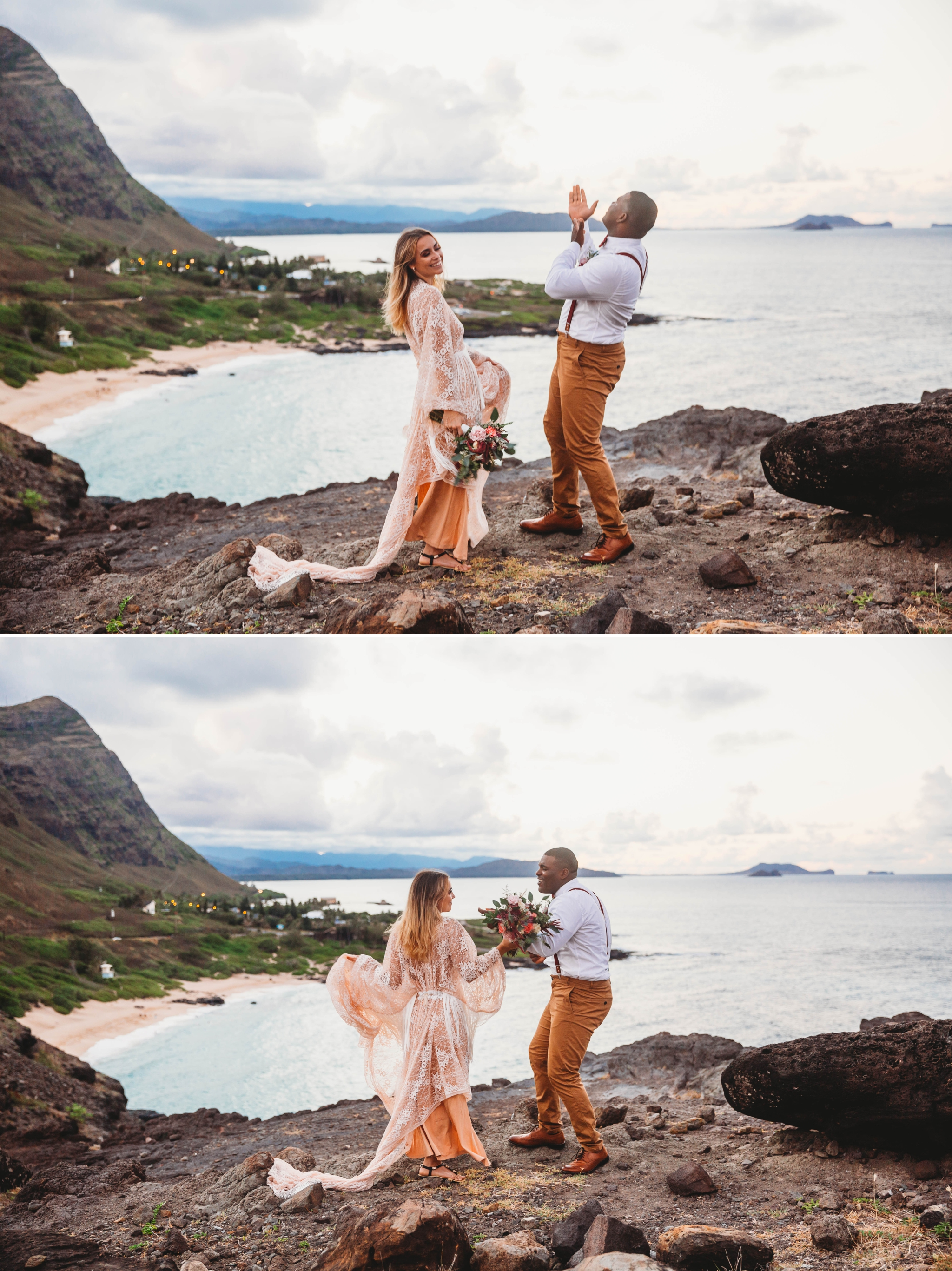 couple dancing full of happiness - wedding ceremony at Makapuu Lookout overlooking the ocean and beach, Waimanalo, HI - Oahu Hawaii Engagement Photographer - Bride in a flowy fringe boho wedding dress - lanikai lookout - deutsche hochzeits fotografin in hawaii - smal1 - dark and moody - true to live