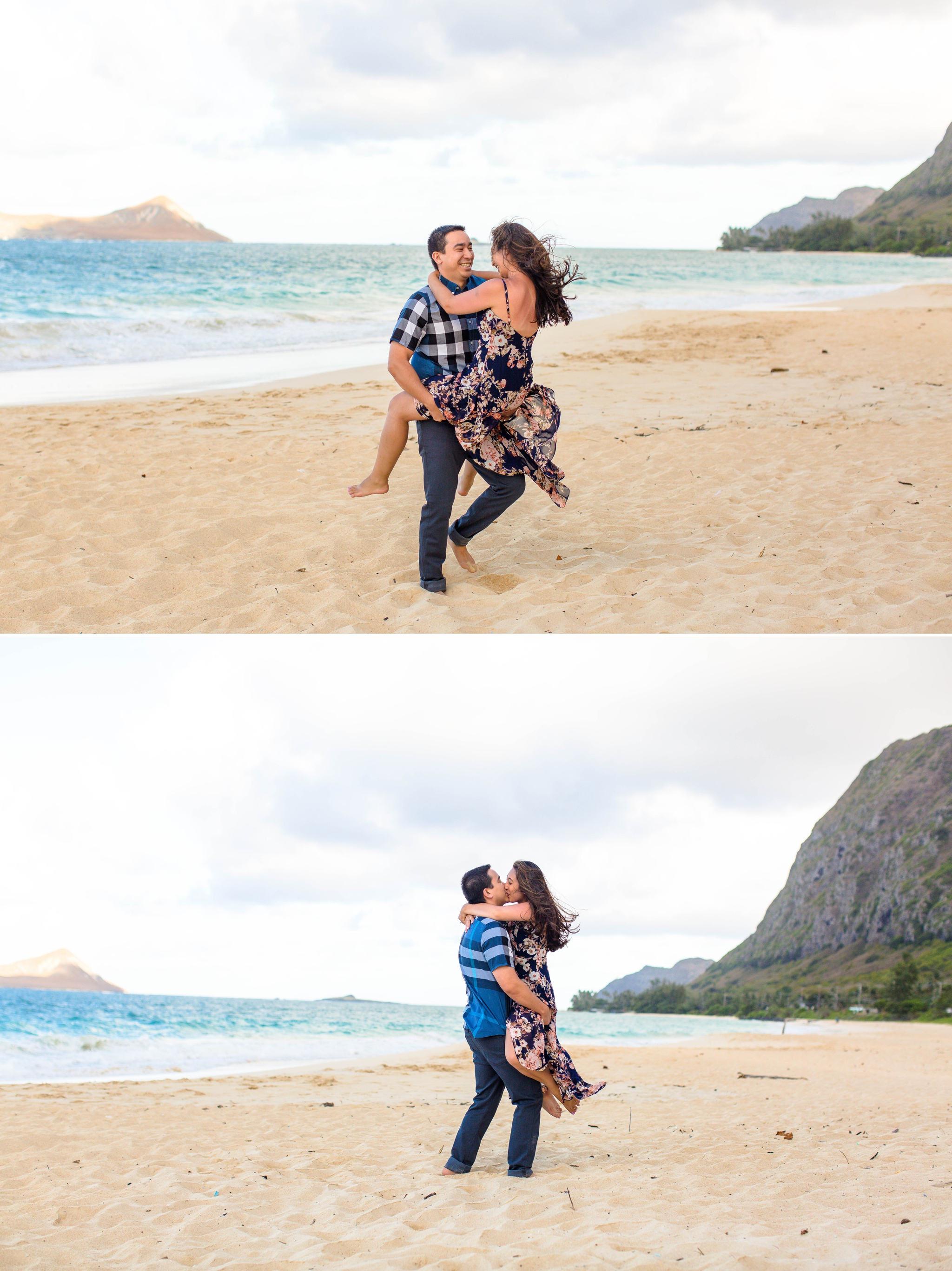 couple standing on the beach looking at each other at Waimanalo Beach with the mountains and clear blue ocean in the back ground - Oahu Hawaii Engagement Photographer