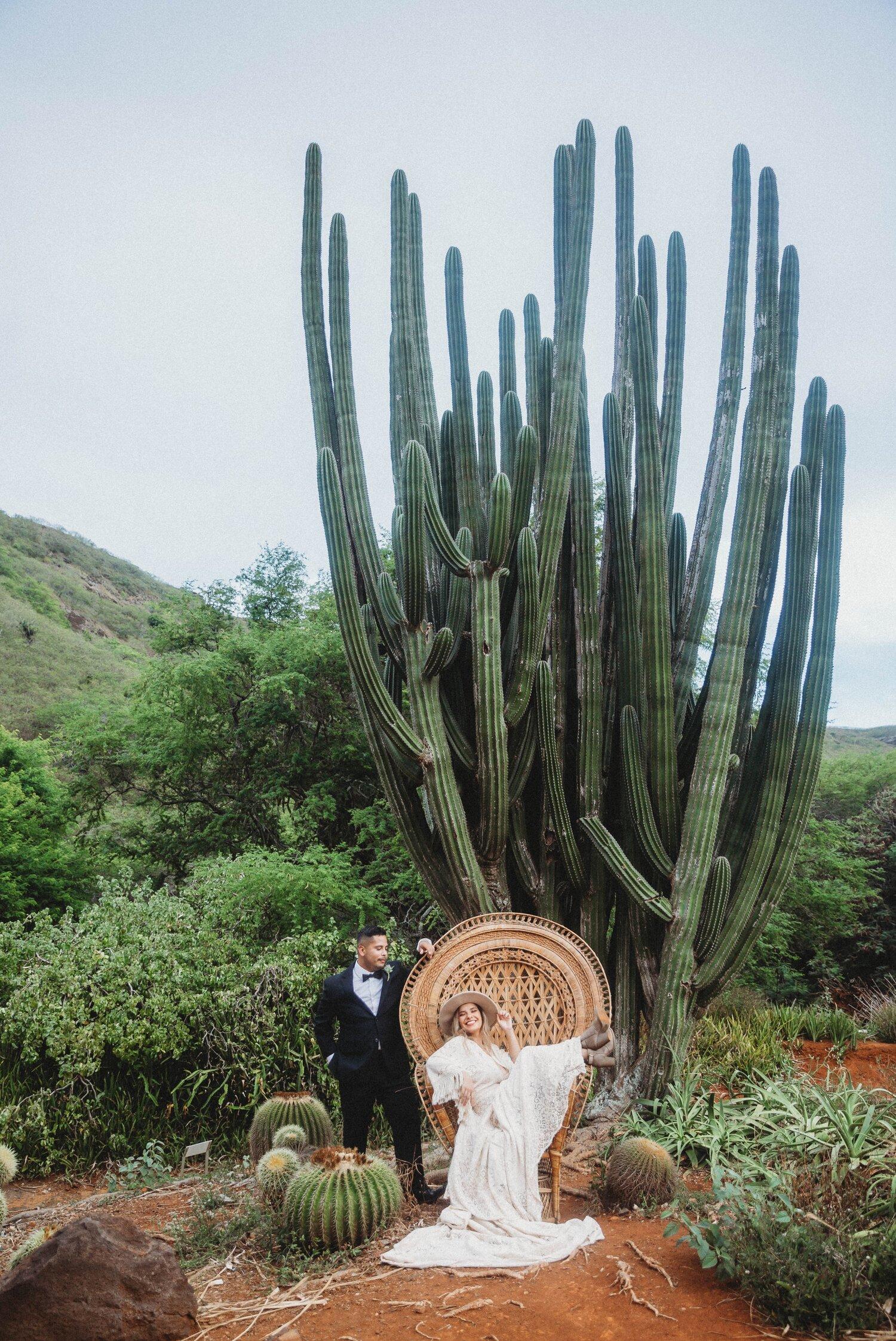 Boho Cactus Elopement - Honolulu, Koko Crater Botanical Garden - Oahu Hawaii Wedding Photographer 12.jpg