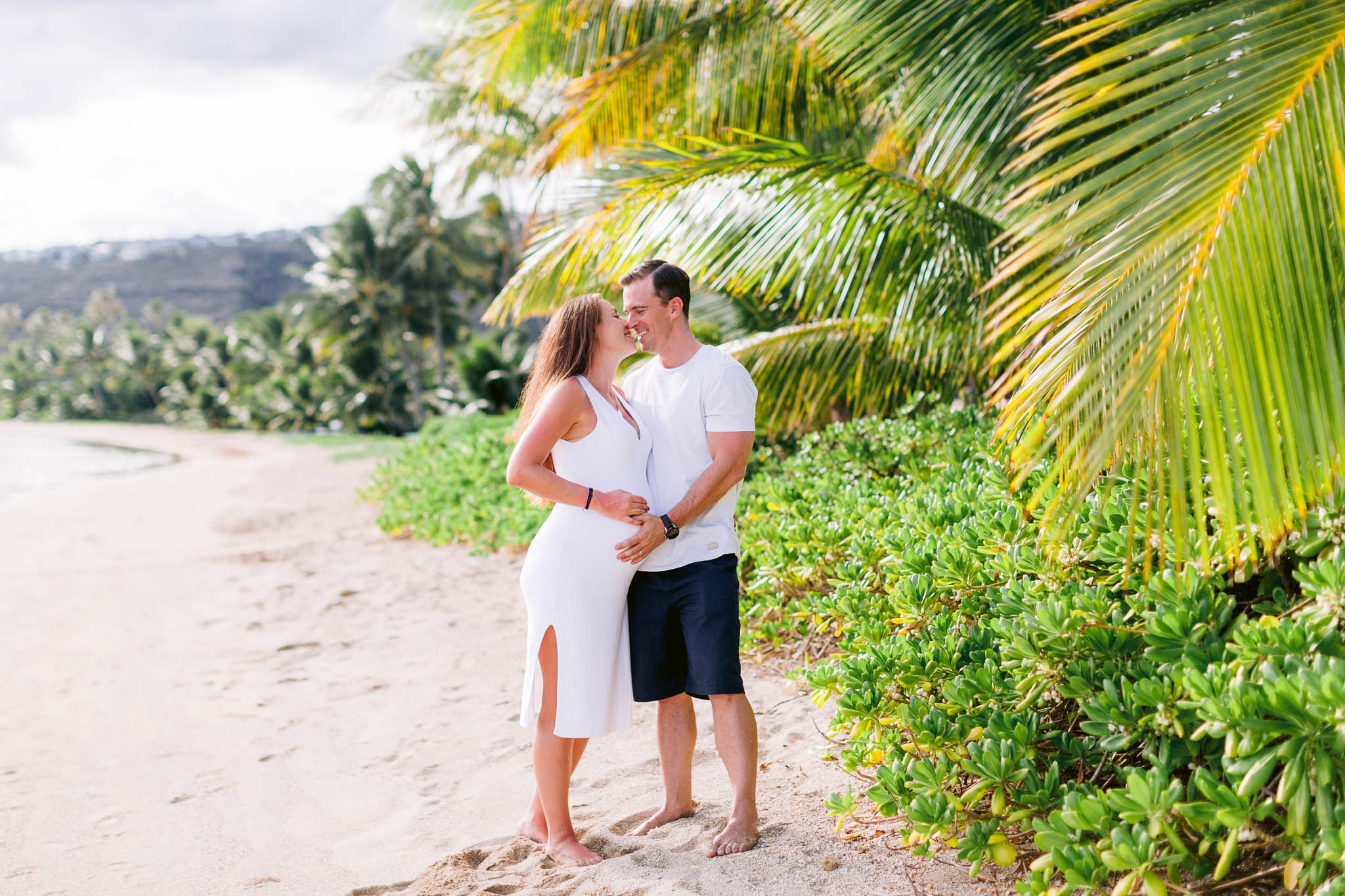 White sandy Beach Maternity Photography Session with Palm Trees - Hawaii Kai Family Photographer