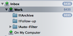 "A view of my email folders. ""!Auto-Filter"" is a folder that gets automatically filled with email I don't normally need to look at."
