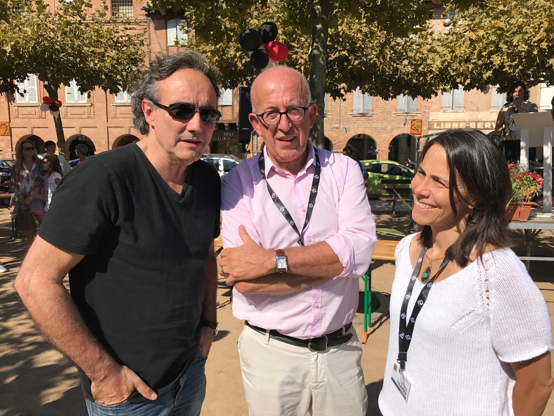 Noël Balen, Jean-Pierre Alaux, and Anne Trager at the Lisle Noir crime fiction festival.