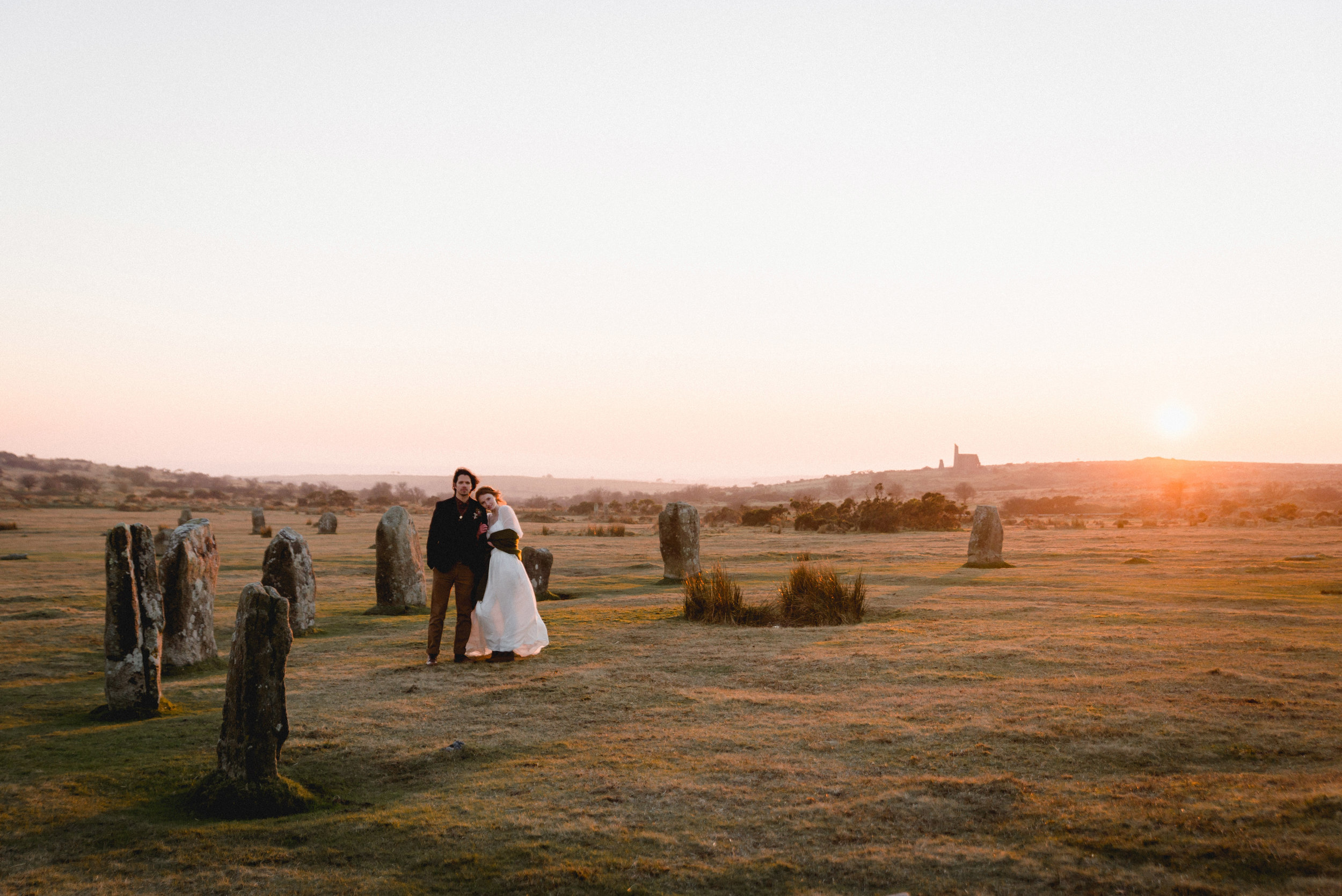 En elopement story shot on Bodmin Moor with Lowenna & Rich collaborating with Ailsa Munro Dressmaker, Ruby Alice designs & Makeup by Ione.