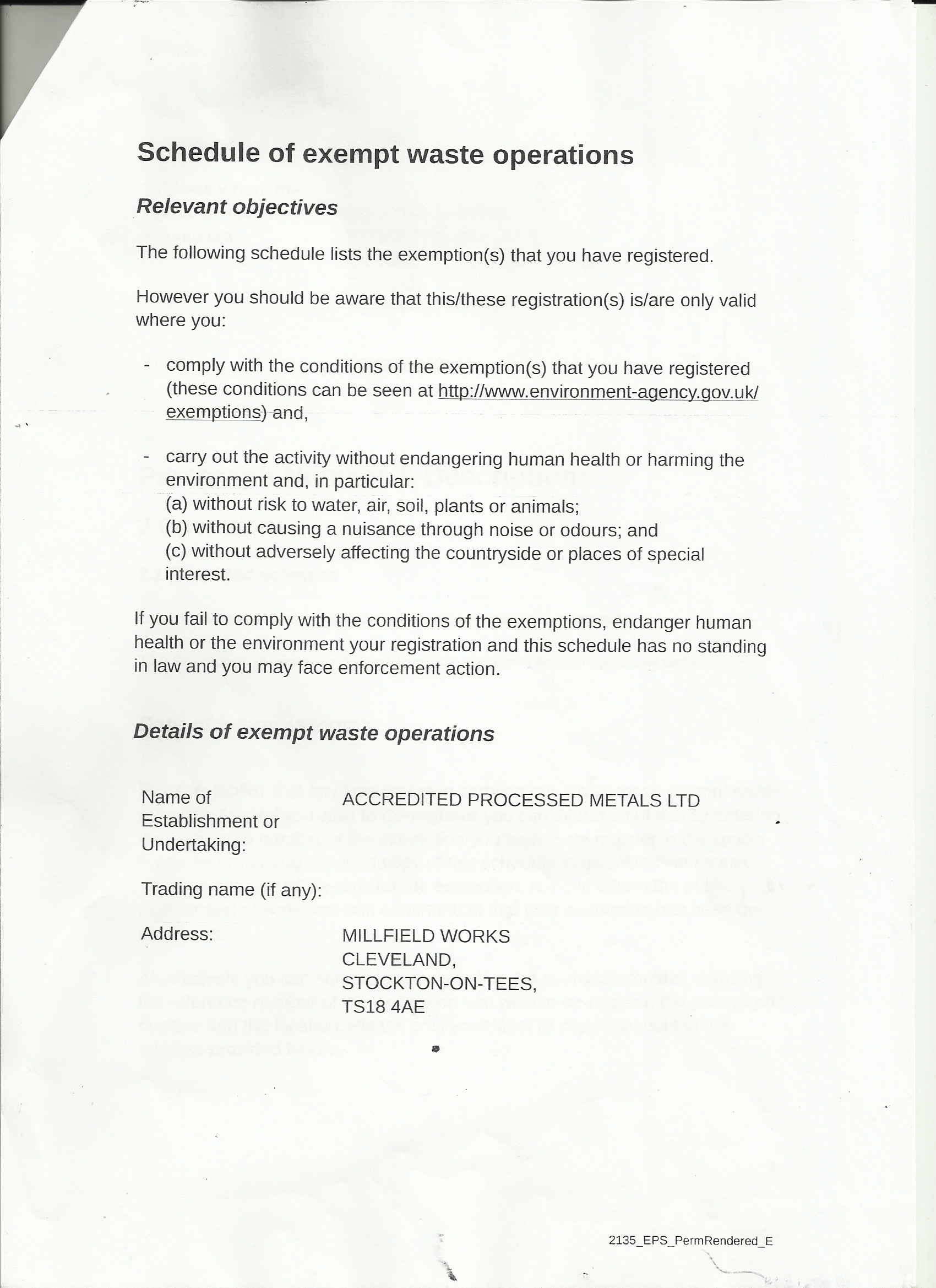 Environment Agency: Waste Operations