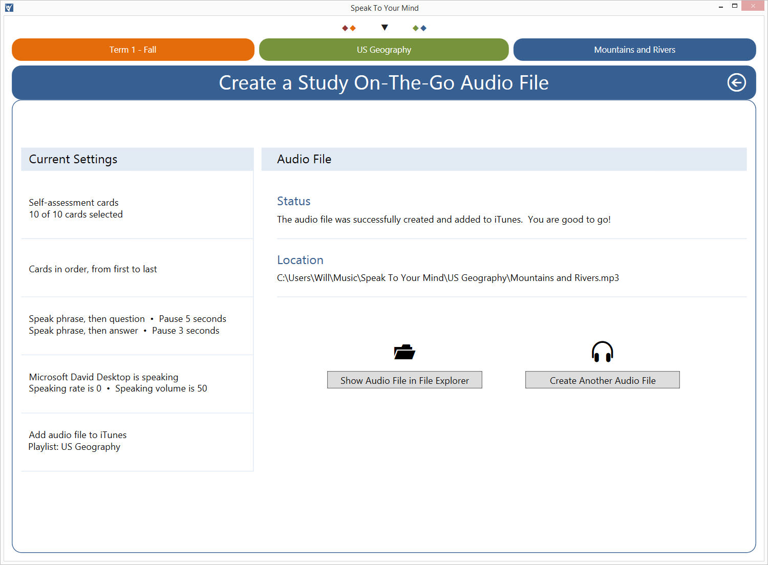 The outcome screen lets you know the final status of your custom mp3 audio file