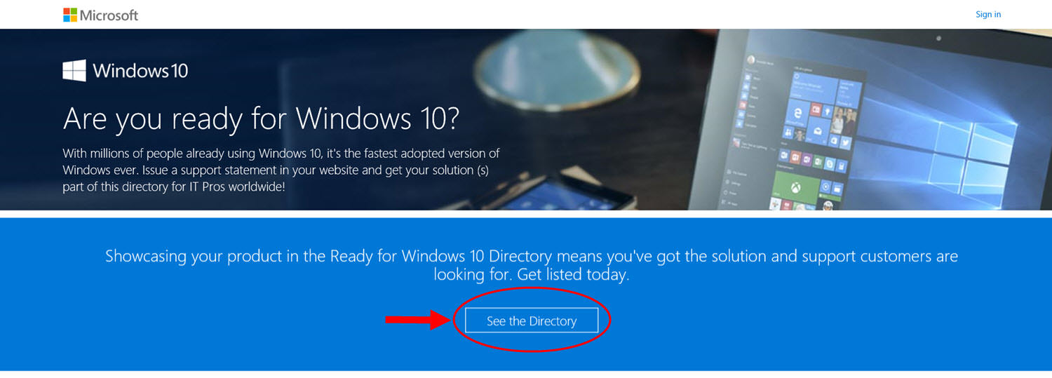 Microsoft's Ready for Windows 10 website and online software directory