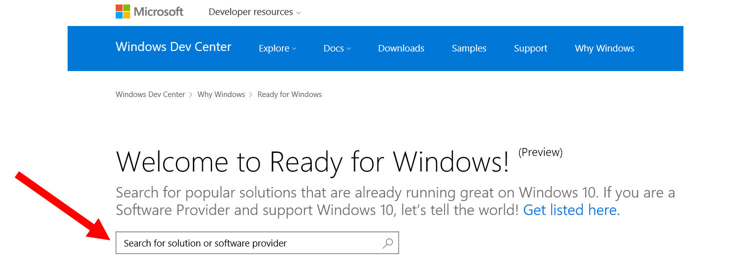 The Ready for Windows 10 Directory lists software compatible with Windows 10